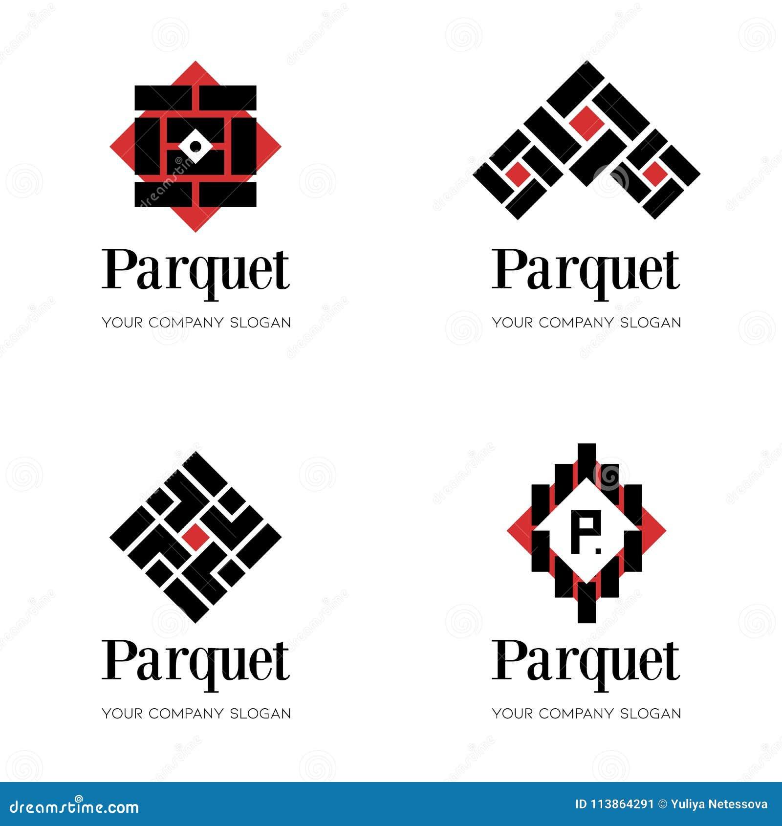 Parkettlogomall Durklogomall Abstrakta logodesignmallar för parkettföretag som däckar företaget