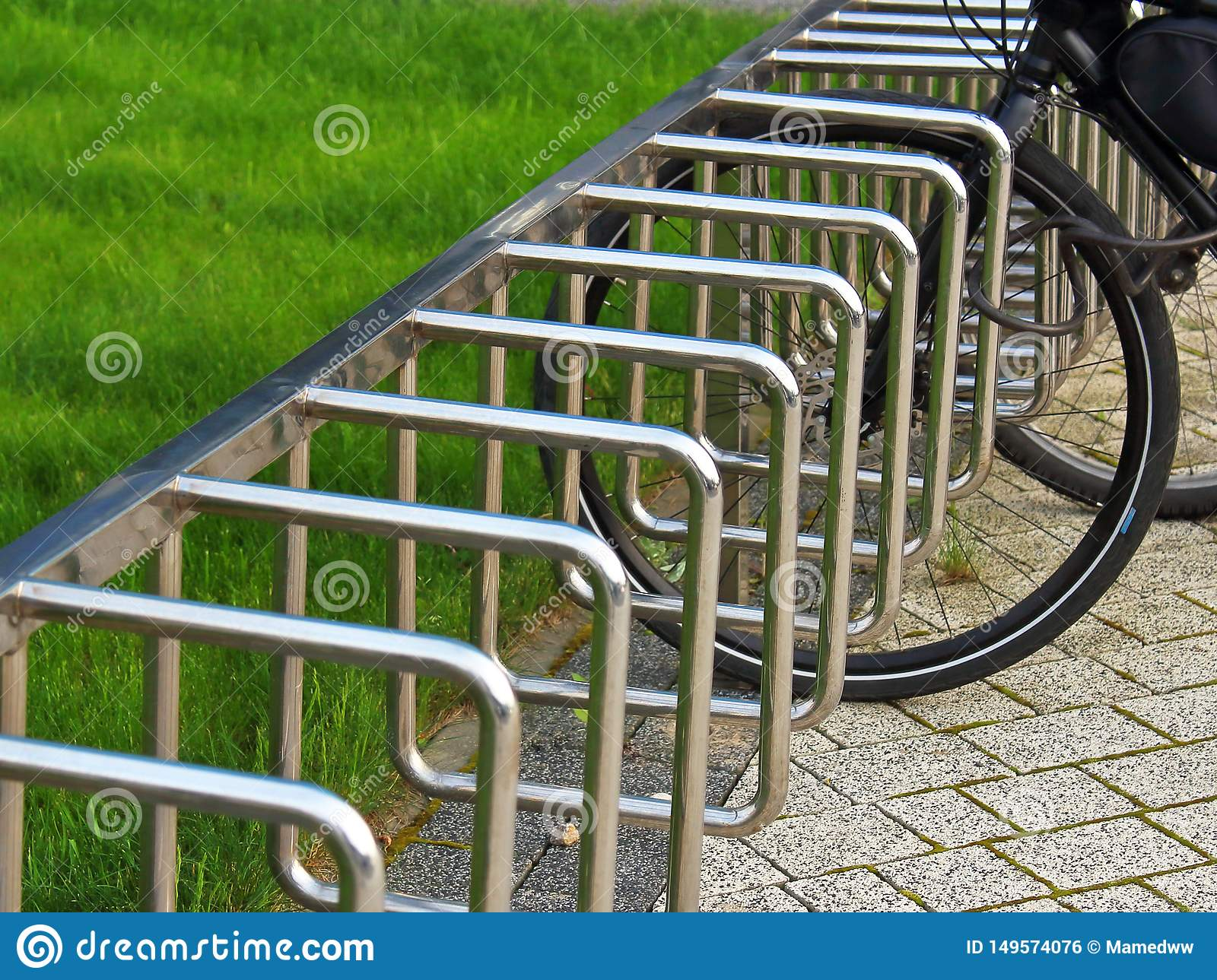 Parking for bicycles in the park