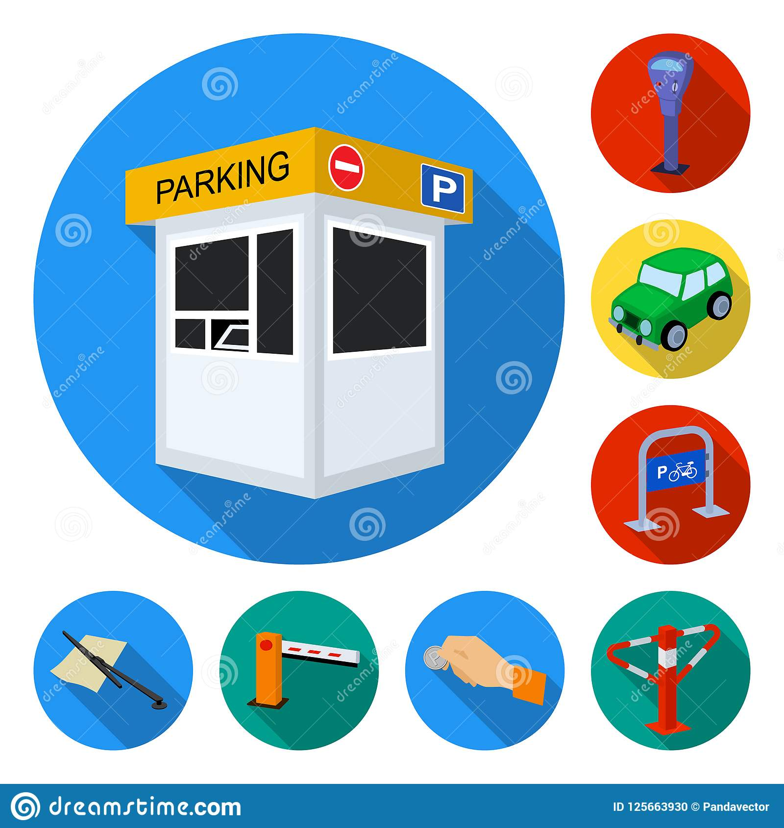 Parking For Cars Flat Icons In Set Collection For Design Equipment