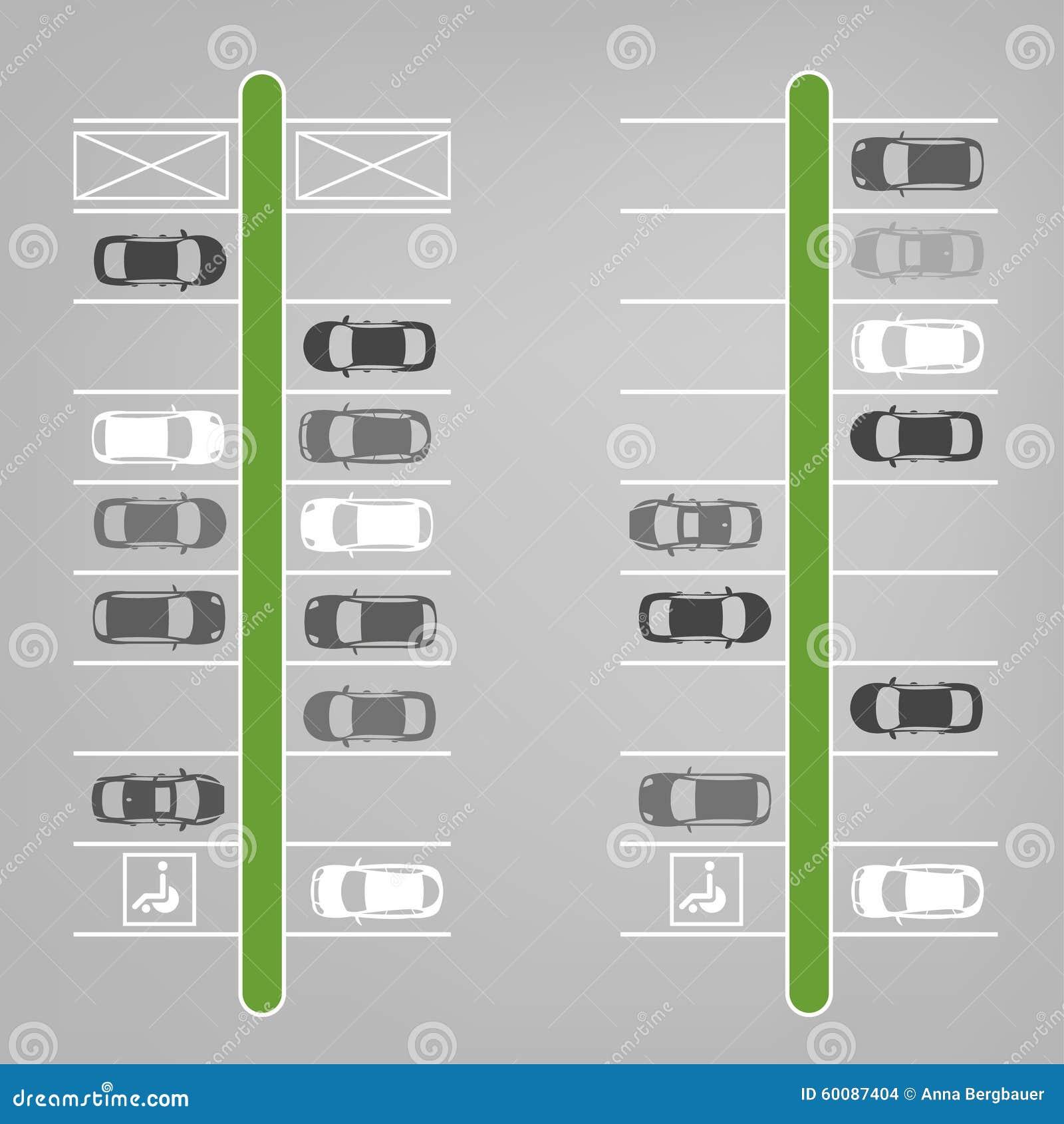 Parking Lot Top View Stock Vector. Illustration Of Sedan