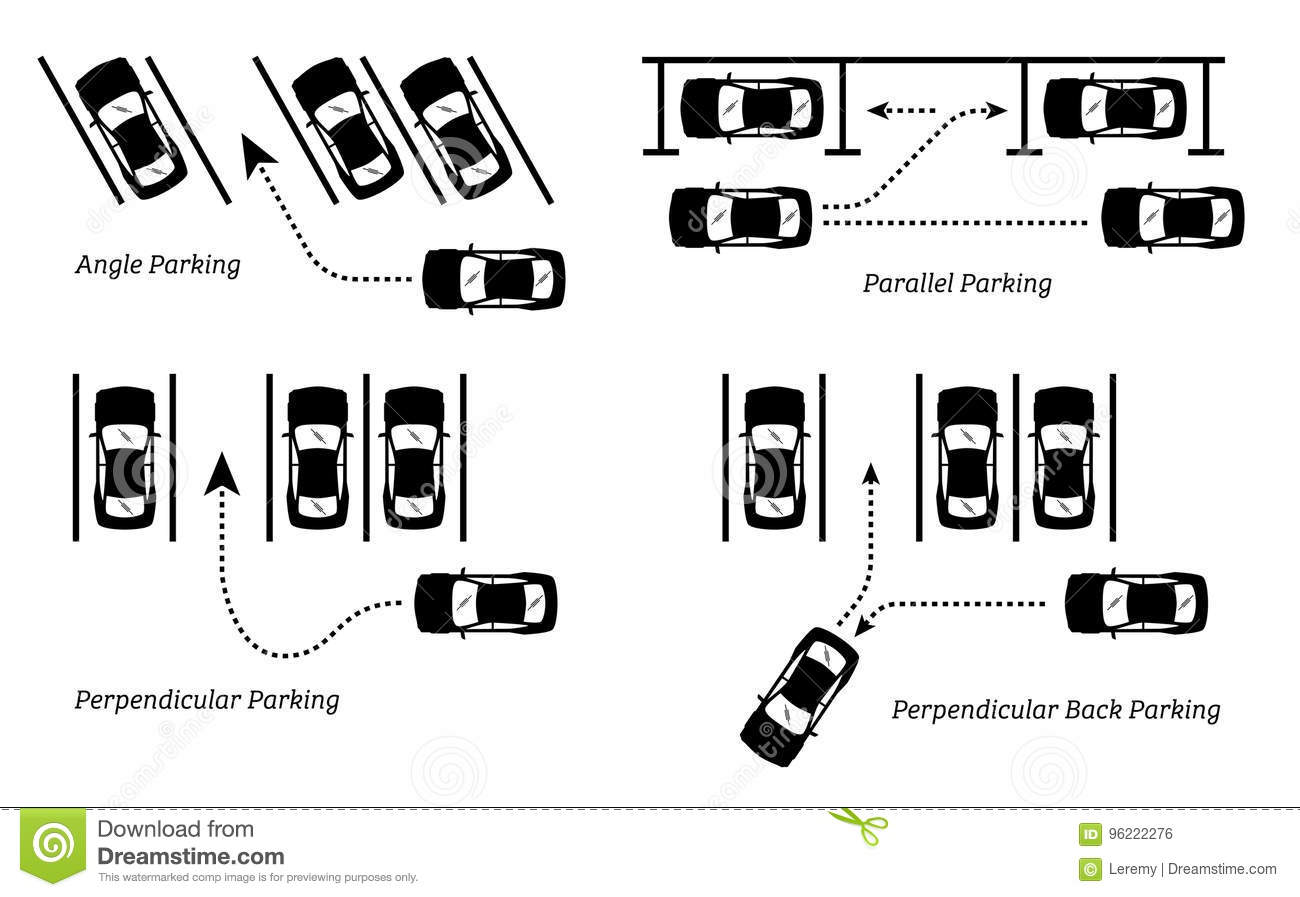 parking methods and ways  stock vector  illustration of