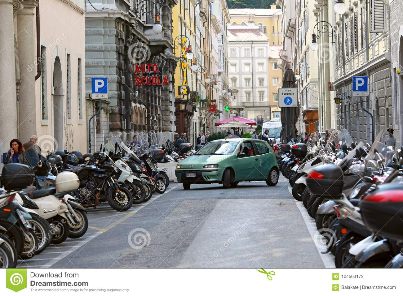 Parking Of Motorcycles On Both Sides Of The Street ...