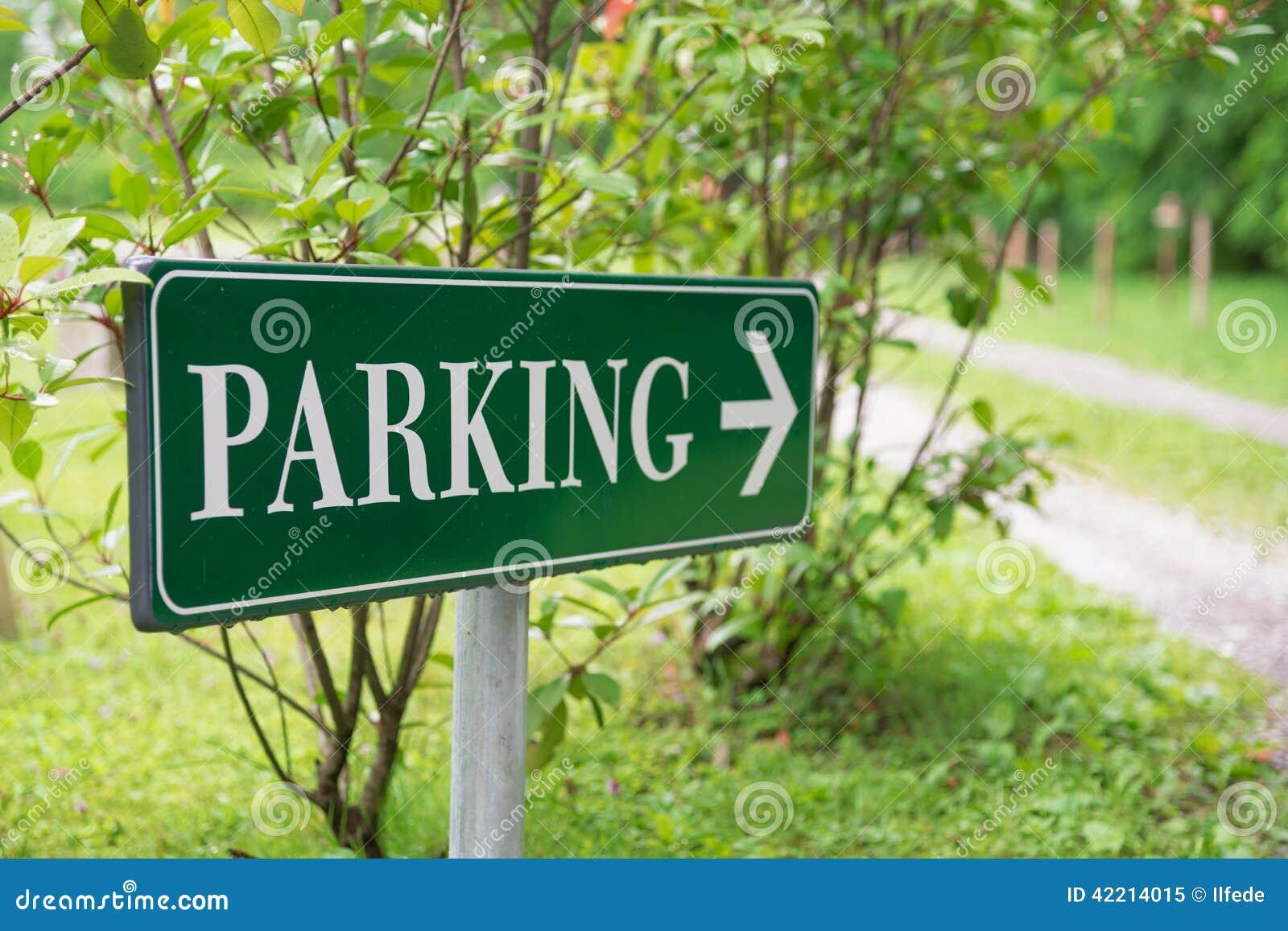 parking sign in the park stock photo image 42214015. Black Bedroom Furniture Sets. Home Design Ideas