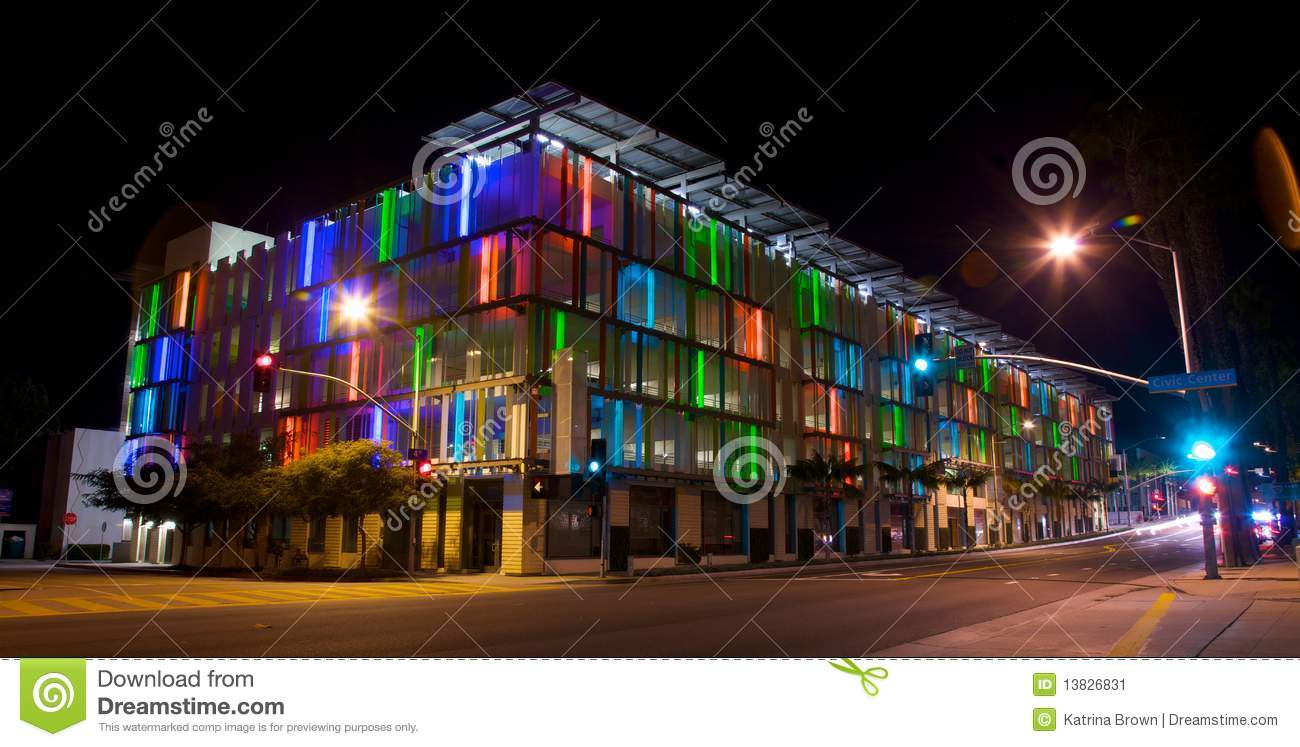 Parking Structure in Los Angeles With Colorful Acc