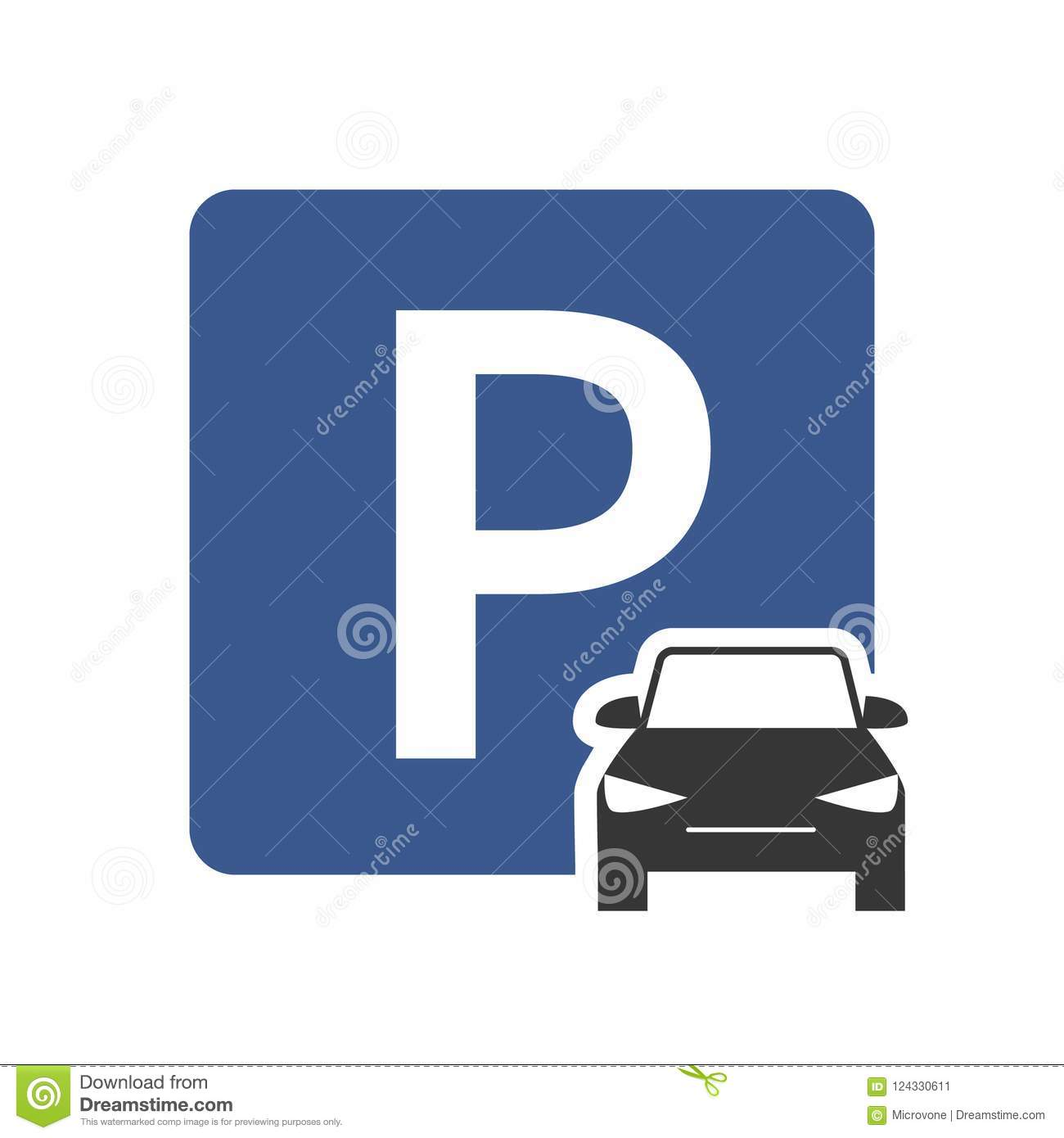 Parking Zone Vector Icon With Car Symbol Top View Stock Vector