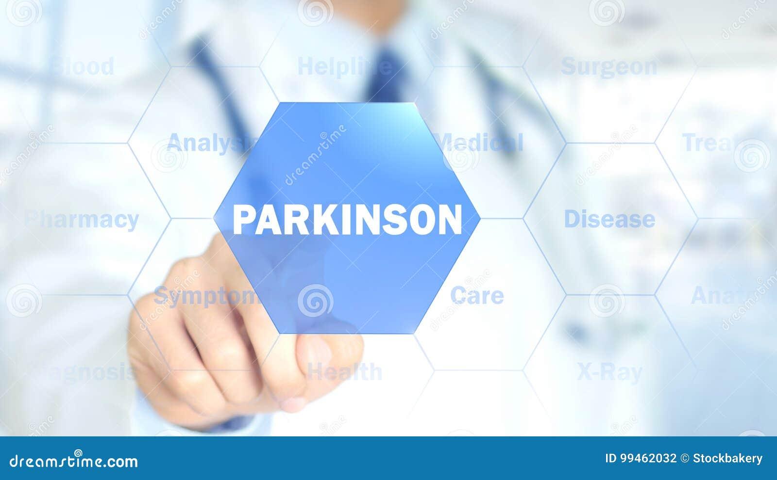 Parkinson, доктор работая на голографическом интерфейсе, графиках движения