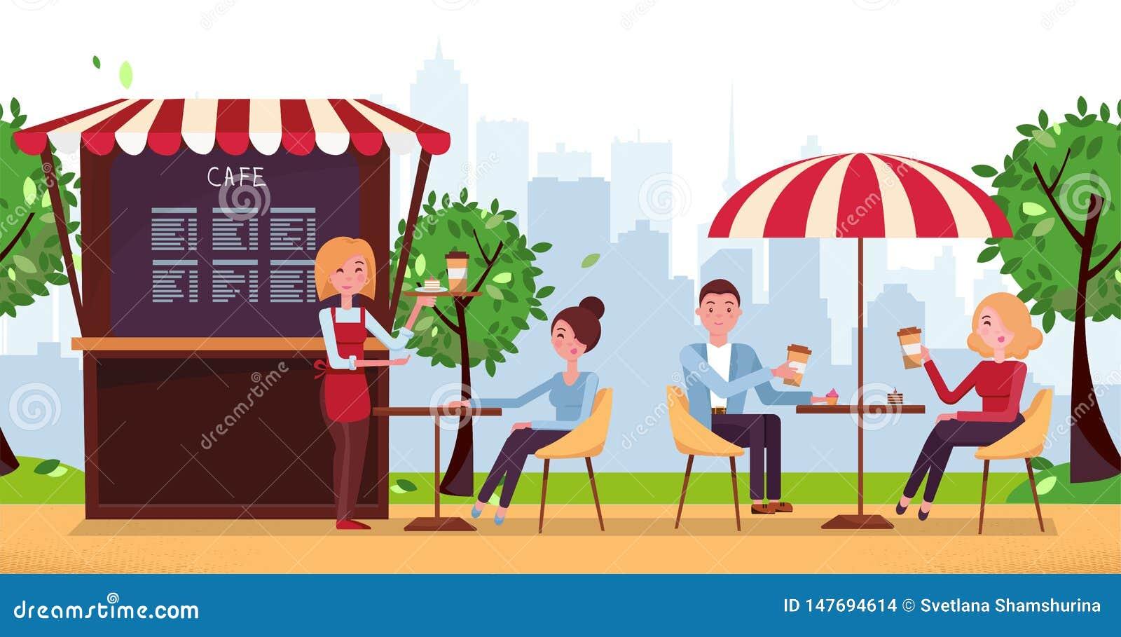 Parkkoffie met paraplu De mensen drinken Coffe in Openluchtstraatkoffie op Restaurantterras Park met Buitenkoffie in Stedelijke S