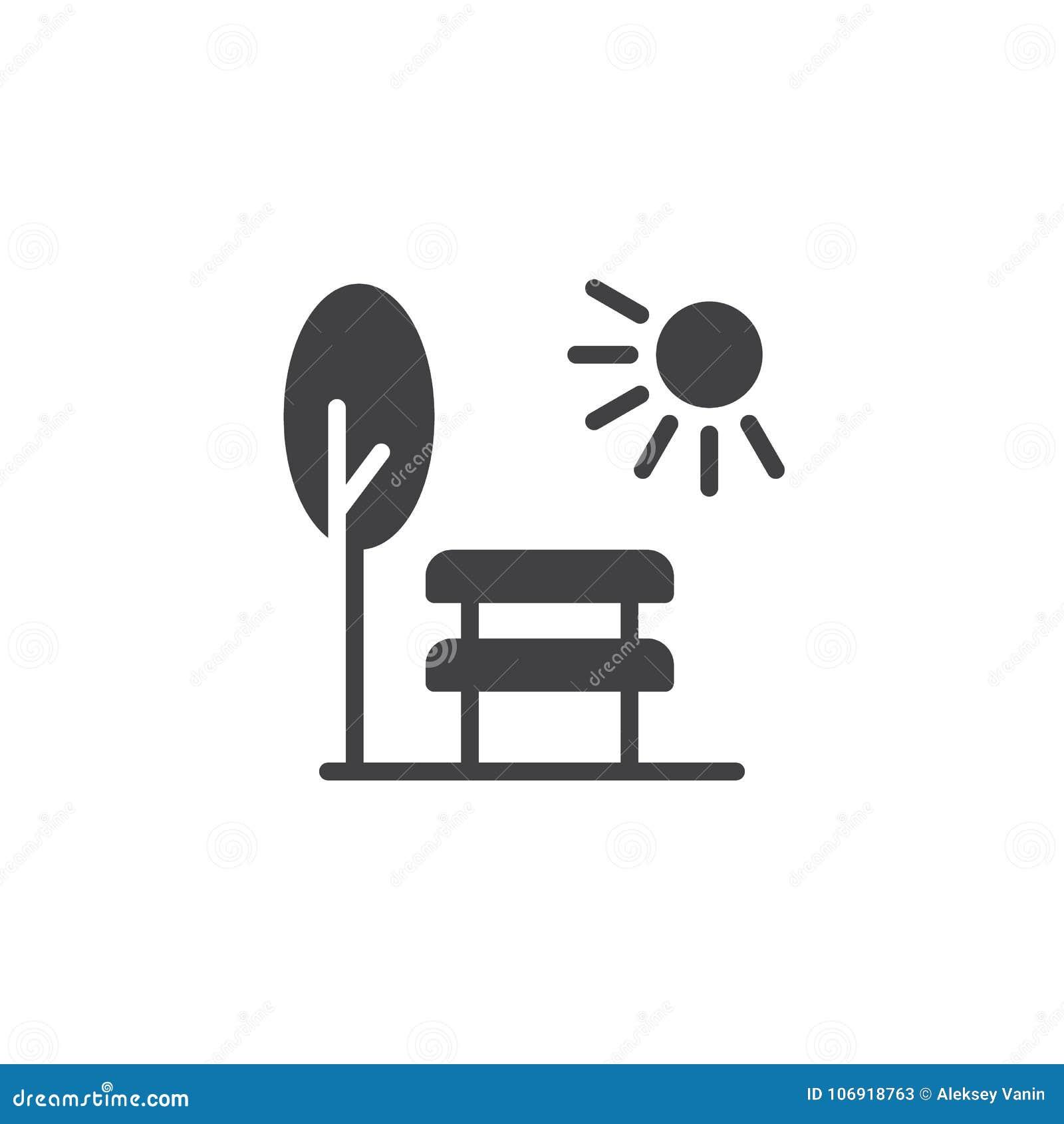 Parkowa scena z ławki słońca i drzewa ikony wektorem