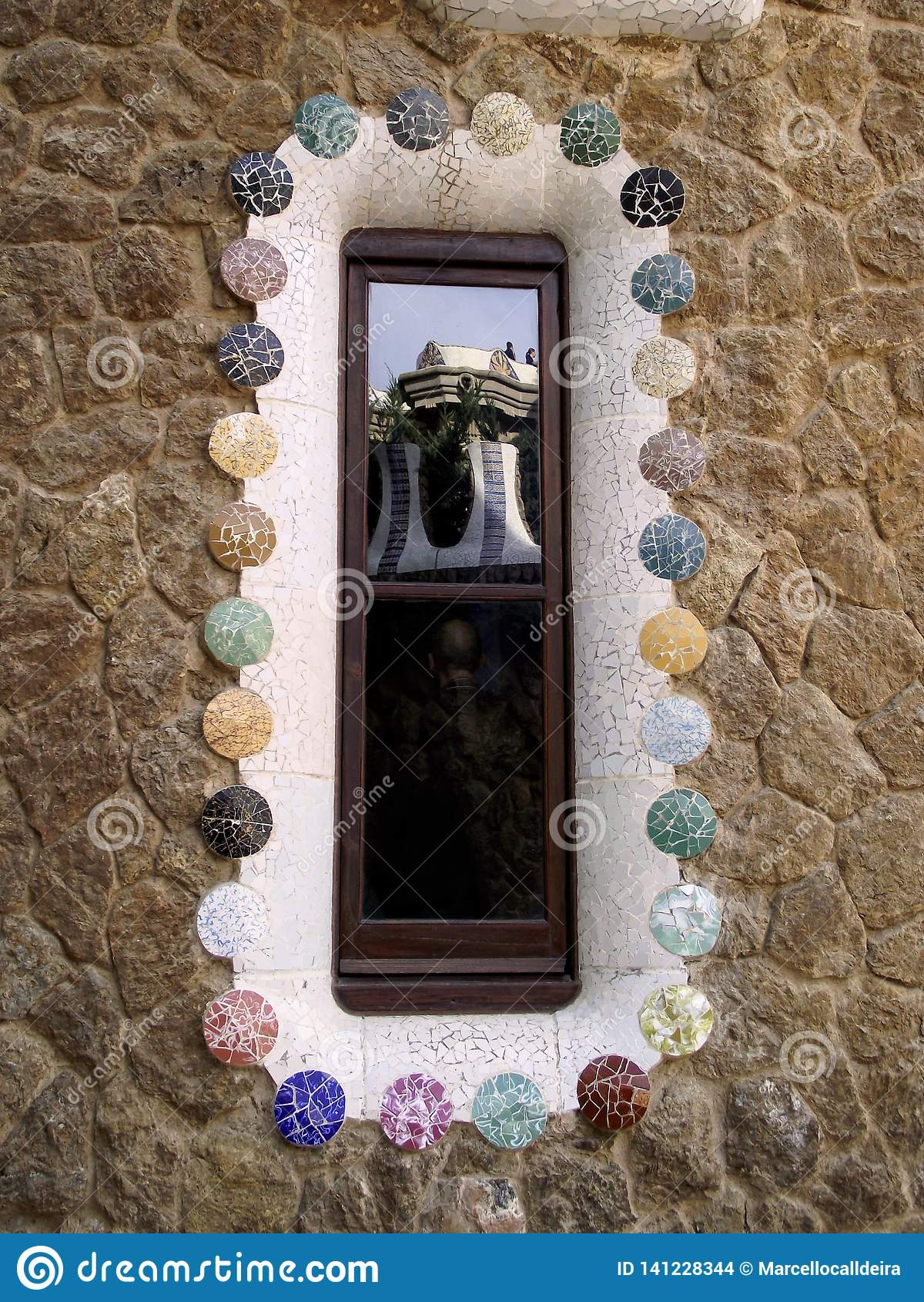 Parkowy Guell odbijał samodzielnie Barcelona, Hiszpania -/