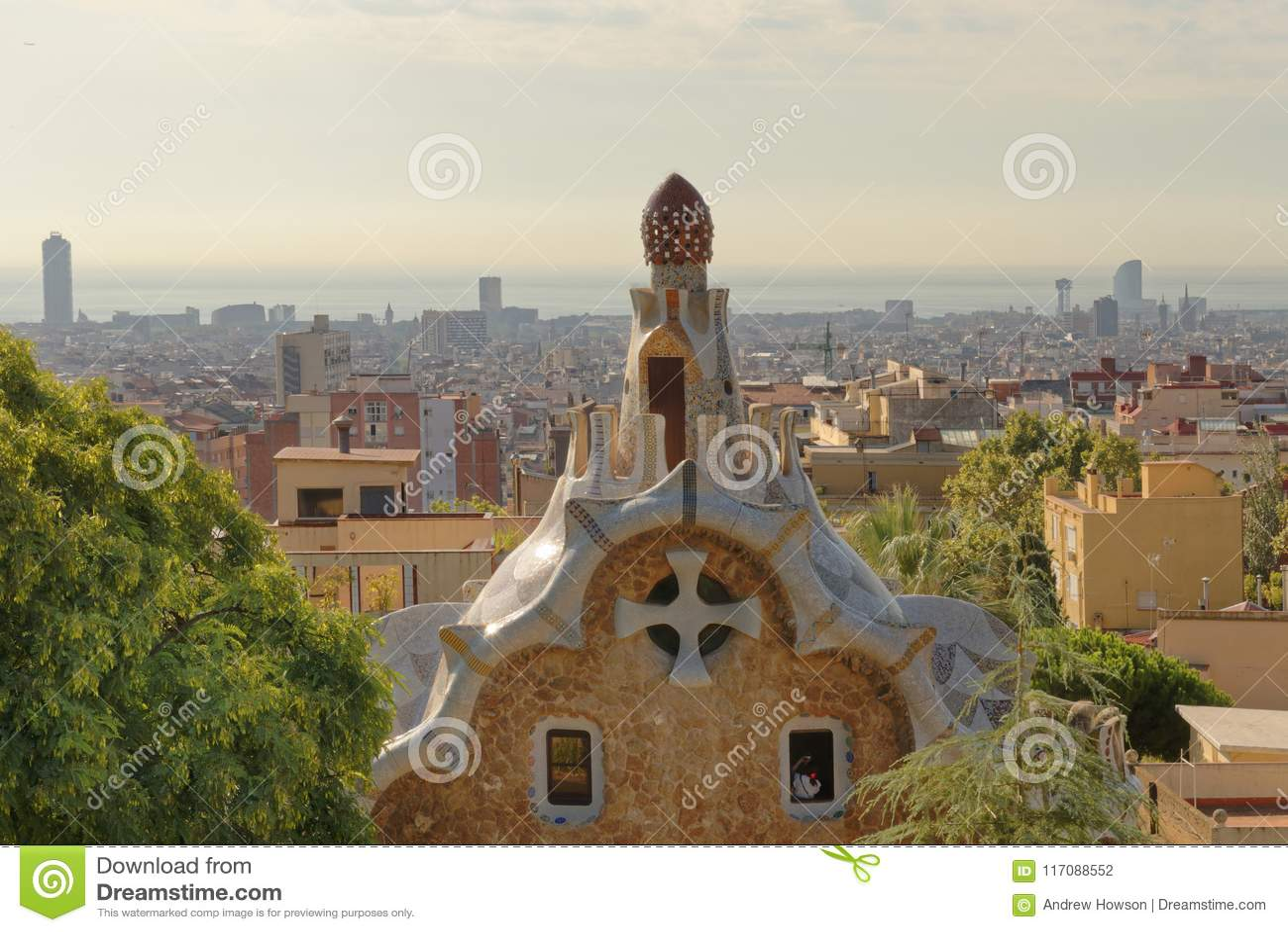 Parkowy Guell ogród w Barcelona, Hiszpania