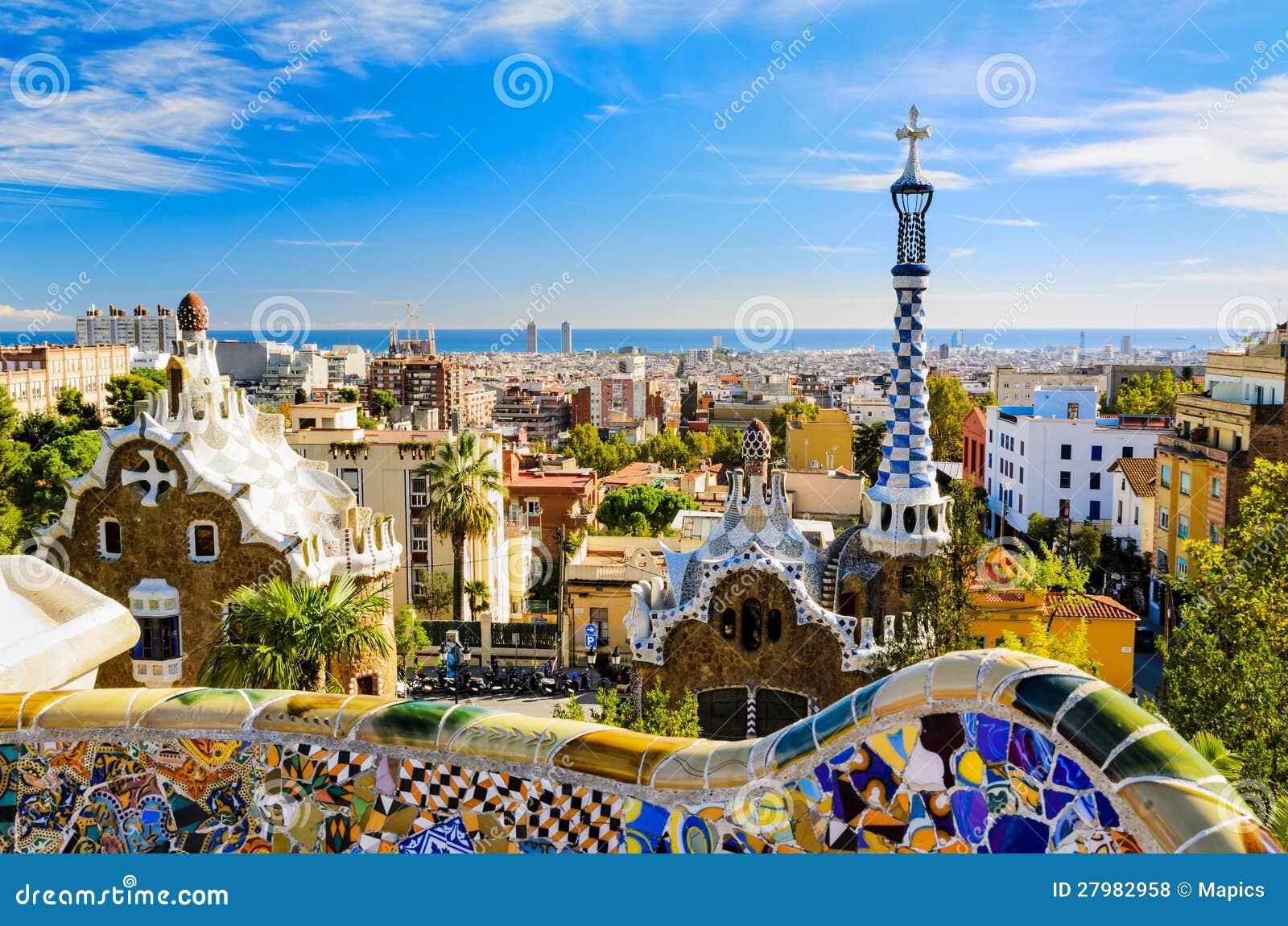 Parkowy Guell w Barcelona, Hiszpania