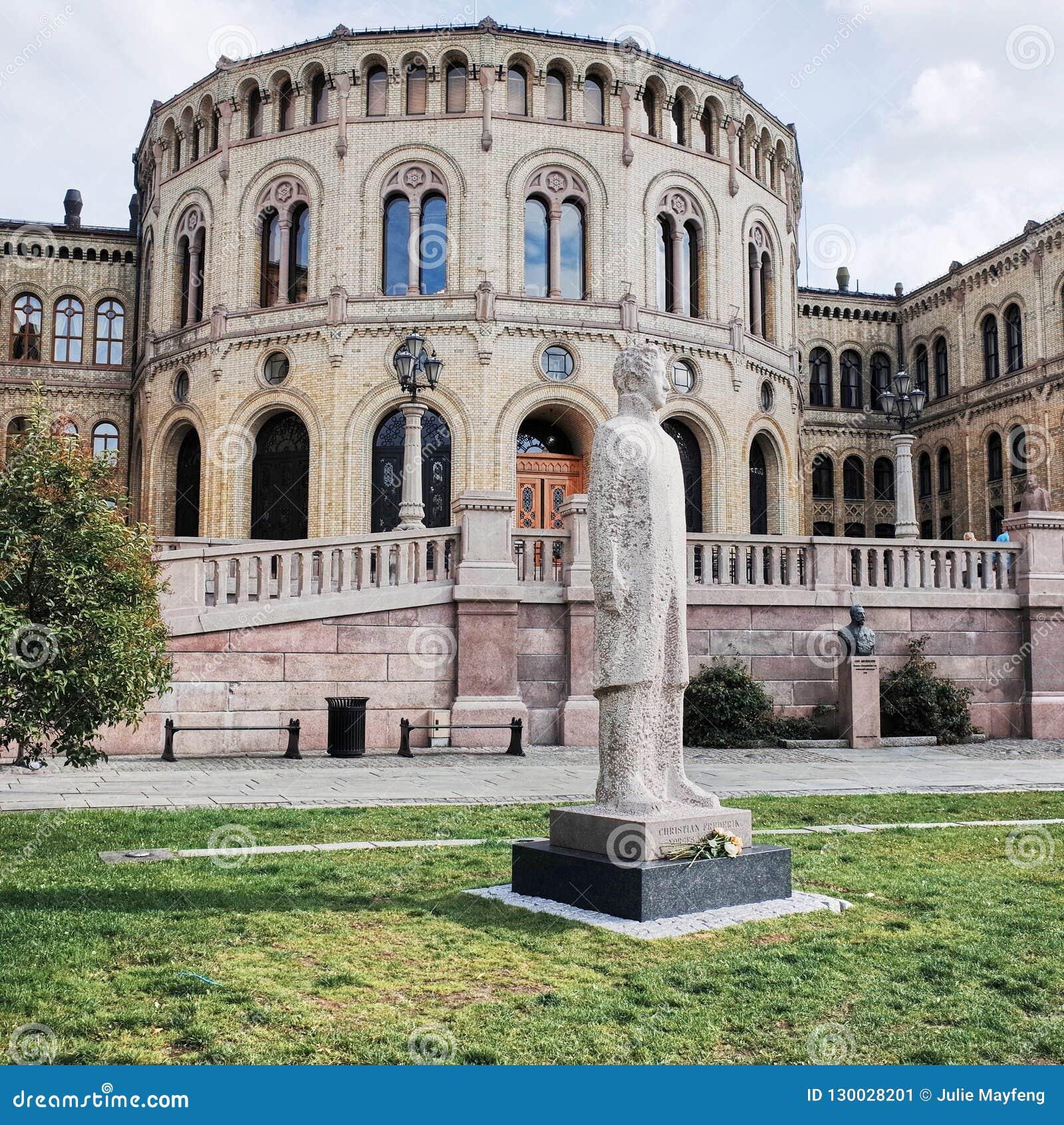 Parlamentu budynek, Storting budynek, Karl Johans brama, OSLO, NORWEGIA