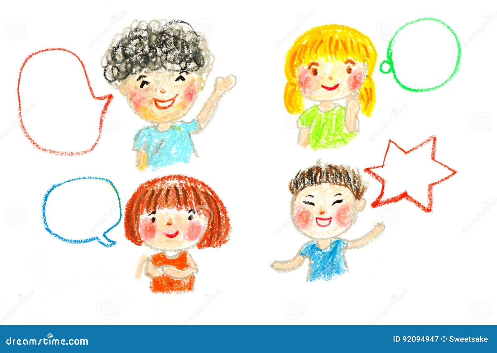 Parler Et Bulles D Enfants Huilent L Illustration De Dessin En Pastel Illustration Stock Illustration Du Bulles Parler 92094947