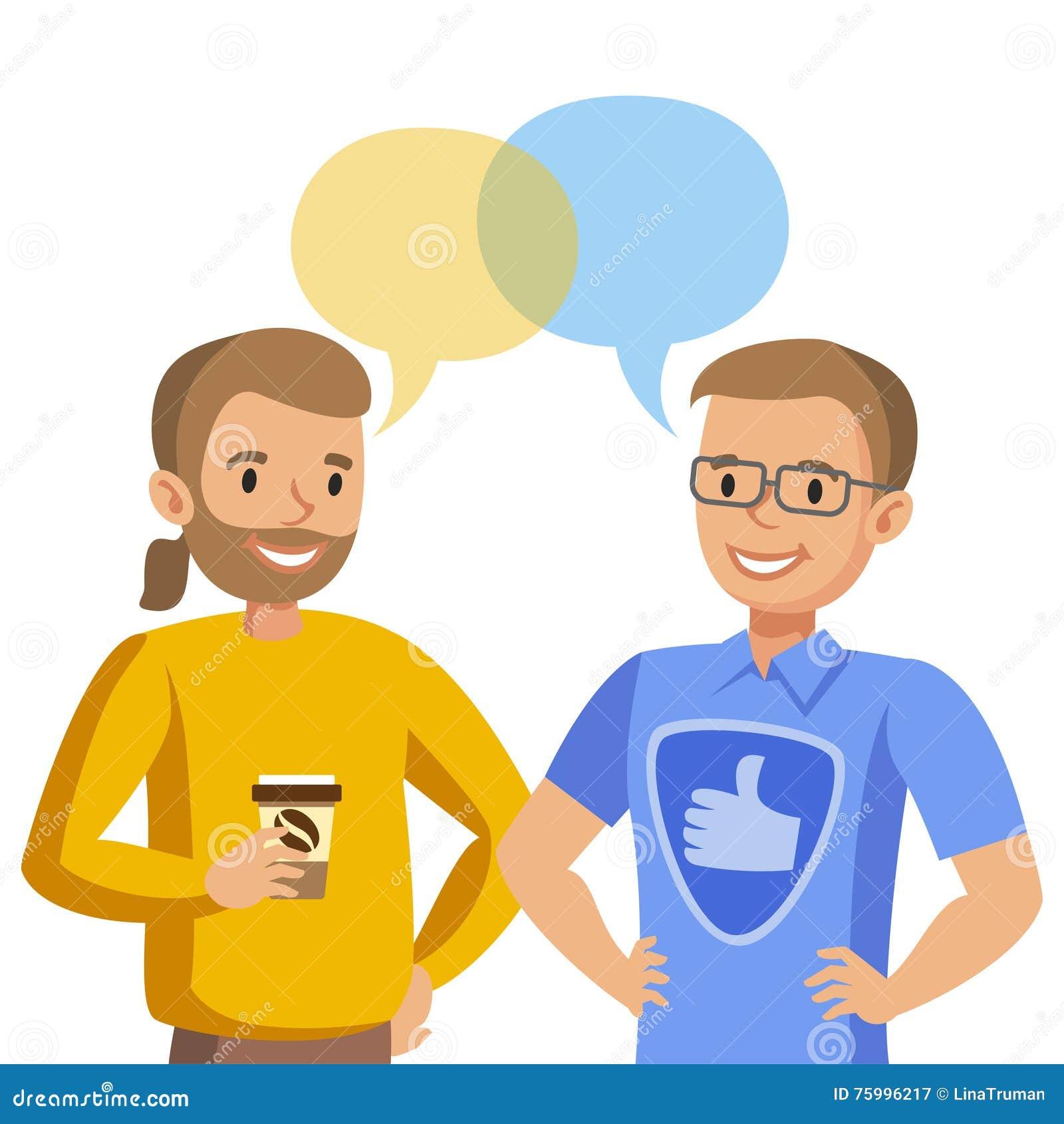 Parler pour deux hommes Entretien des amis ou des collègues Vecteur