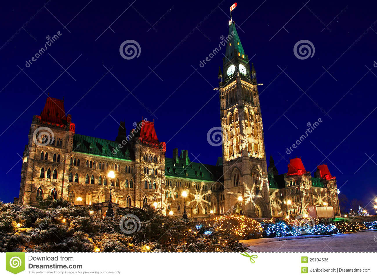 Parliament Buildings In Ottawa, Canada At Christmastime ...