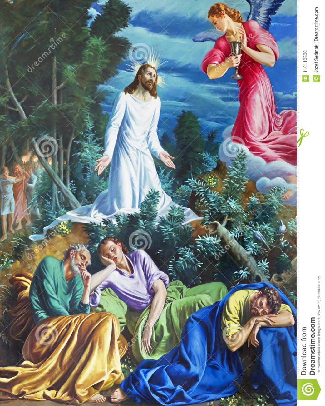 Parma Italy April 16 2018 The Painting Of Prayer Of Jesus In