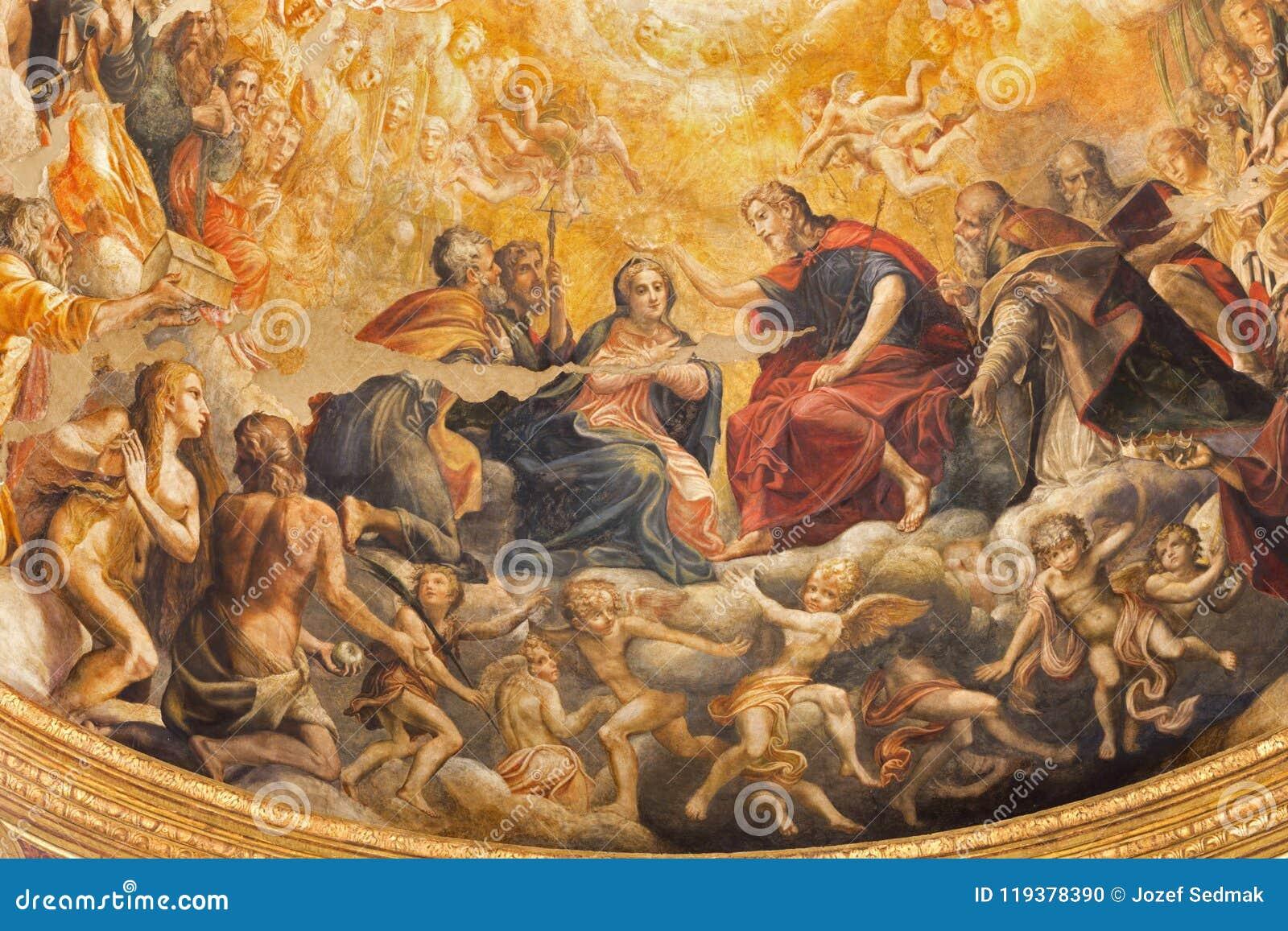 Parme - le fresque du couronnement de Vierge Marie dans l abside principale des Di Santa Mari della Steccata de Chiesa d église
