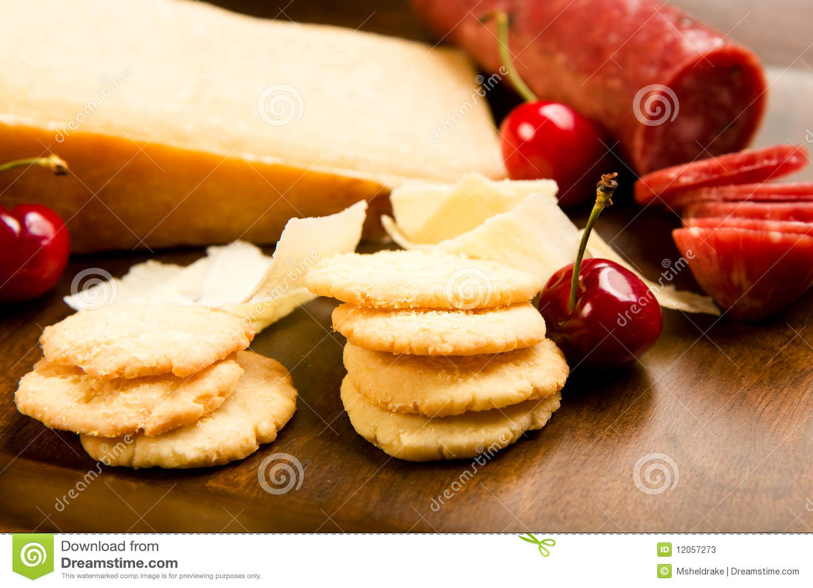 Parmesan shortbread biscuits and salami