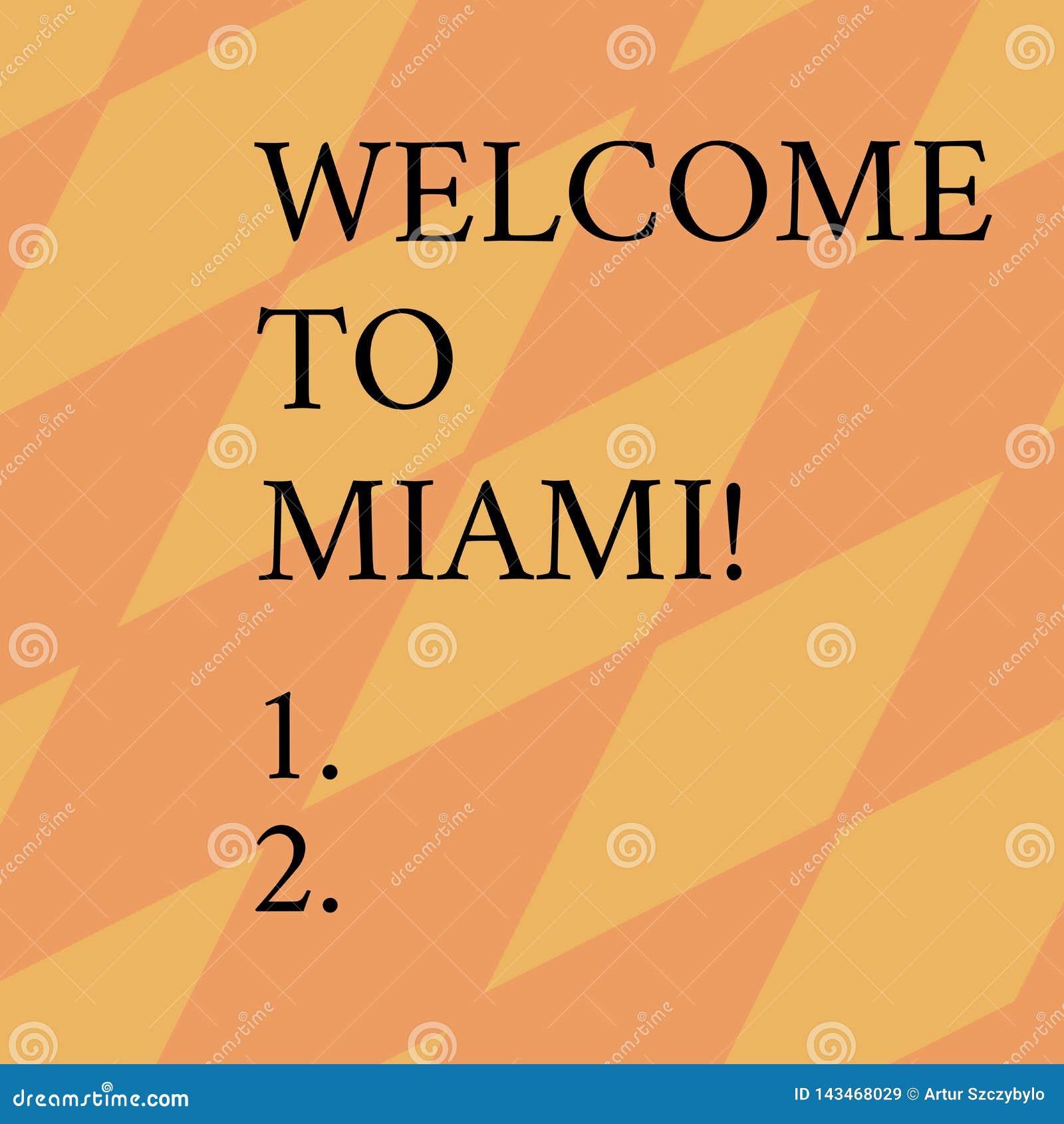 Parola che scrive benvenuto del testo a Miami Concetto di affari per arrivare alla vacanza soleggiata della spiaggia di estate de
