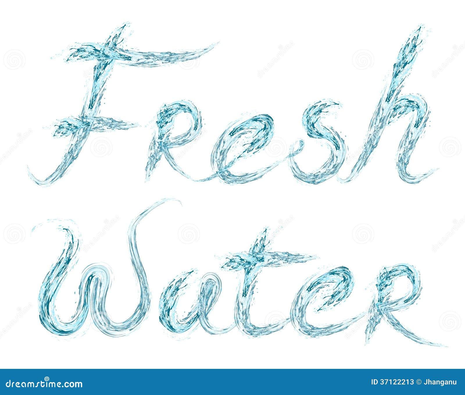 Parola dell acqua dolce su bianco