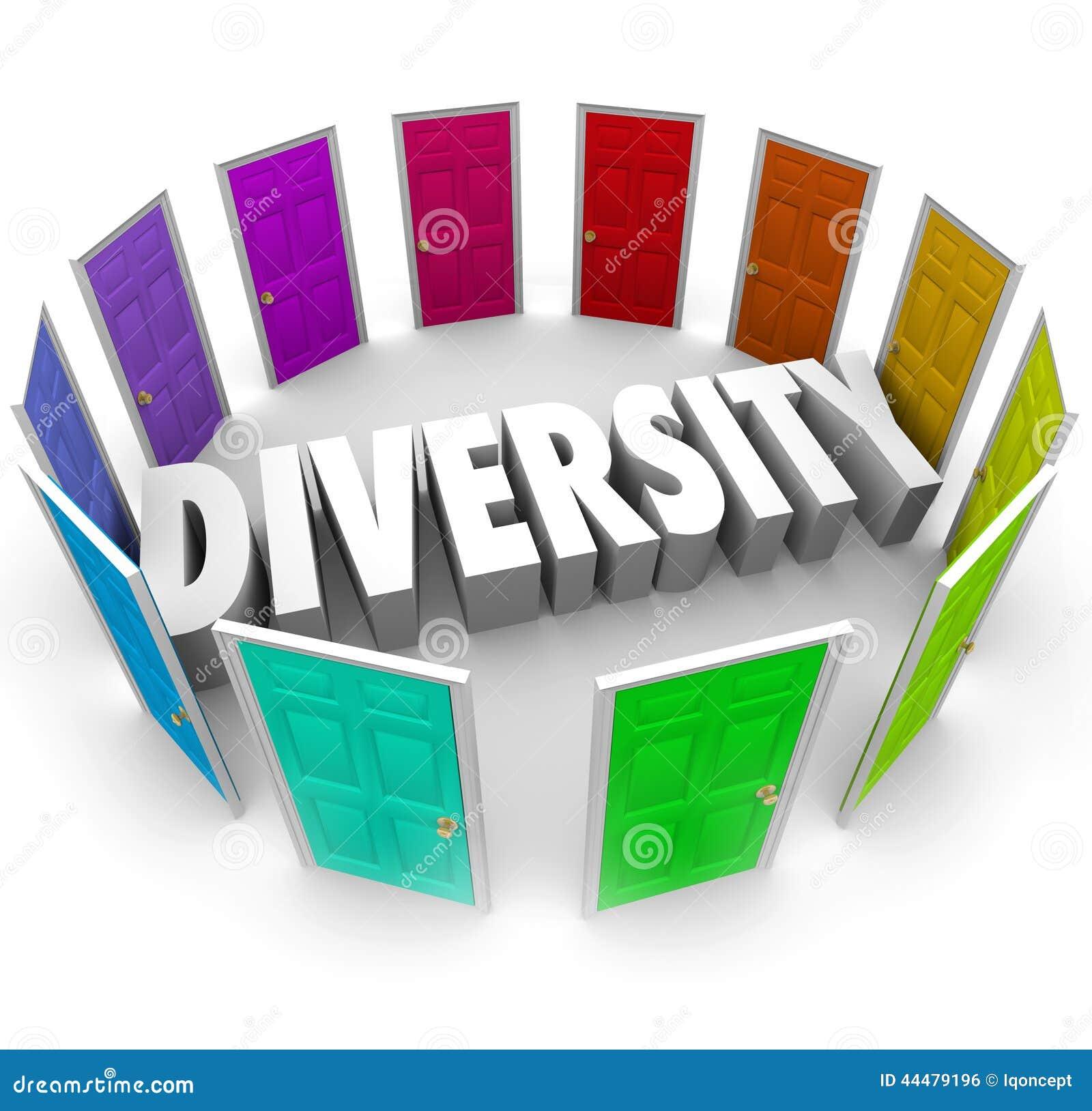 Parola di diversità 3d molti ambiti di provenienza razziali etnici Heritag di scelte