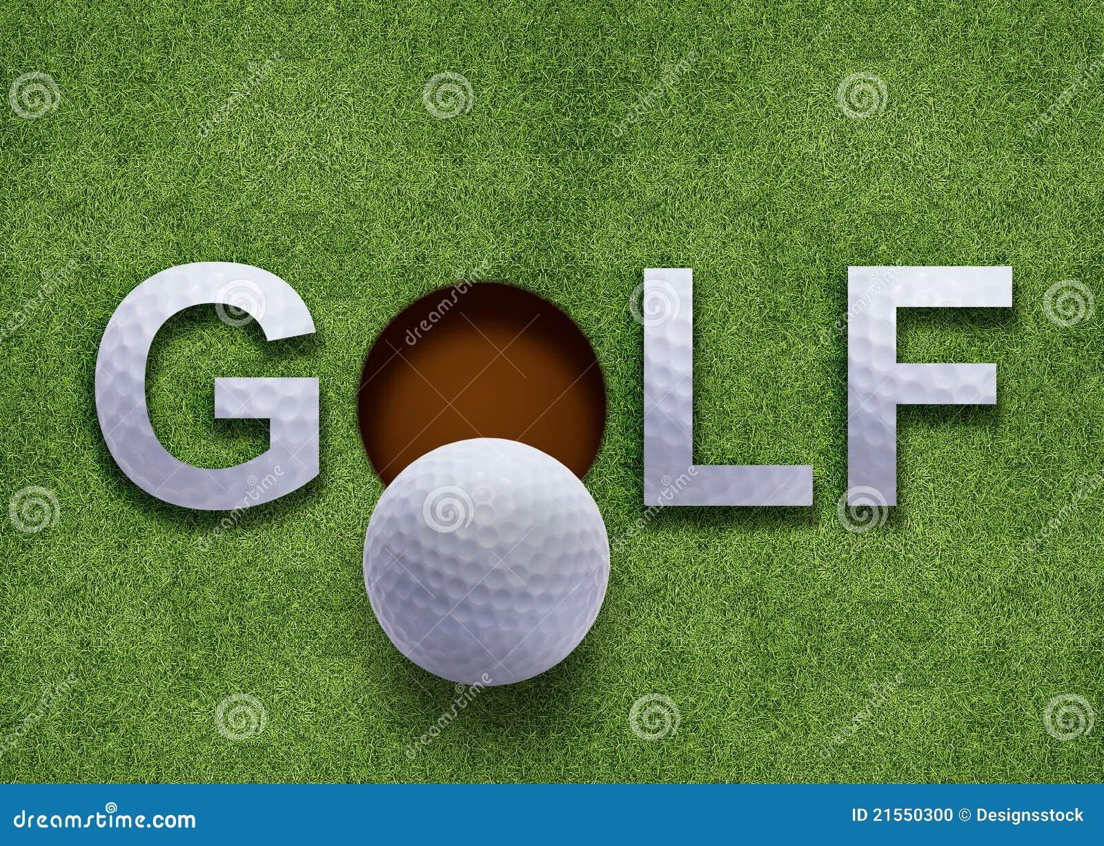 Parola di golf su erba verde
