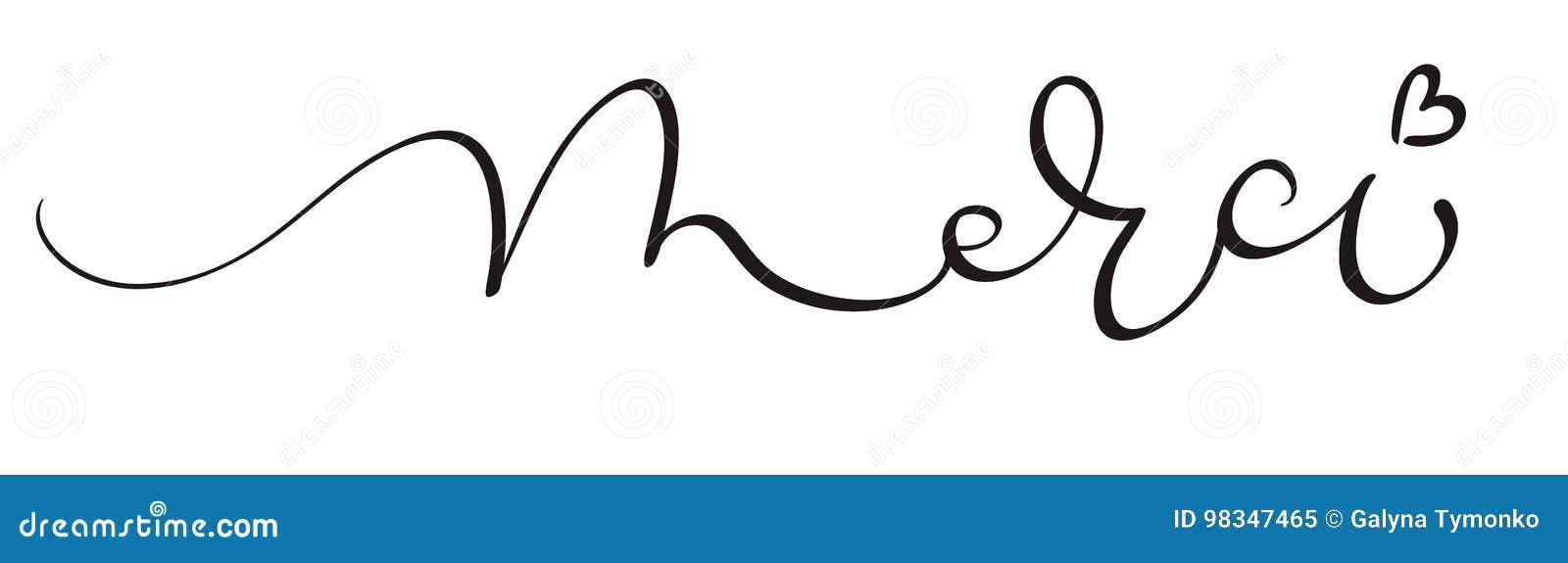 Parola di Merci su fondo bianco Illustrazione disegnata a mano EPS10 di vettore dell iscrizione di calligrafia