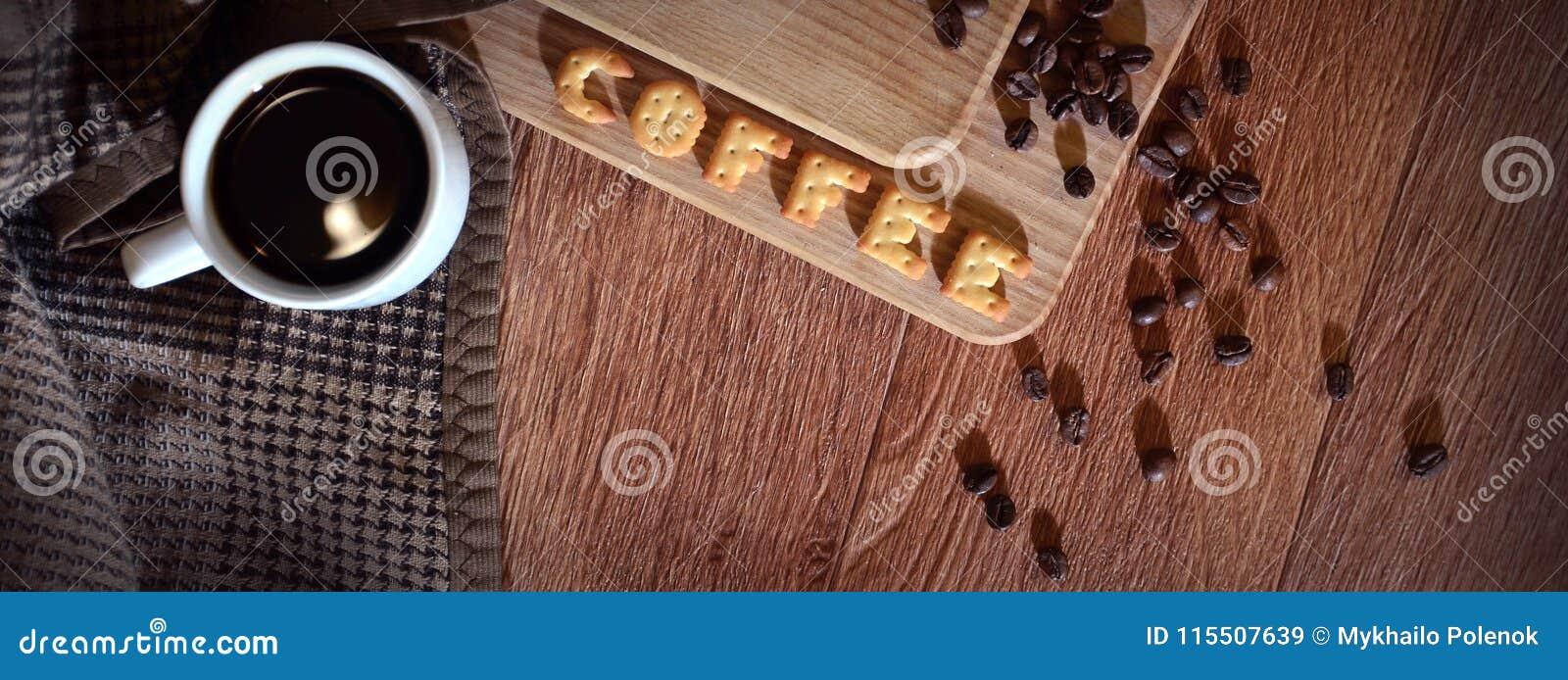 Parola inglese & x22; Coffee& x22; , composto delle lettere del salatino