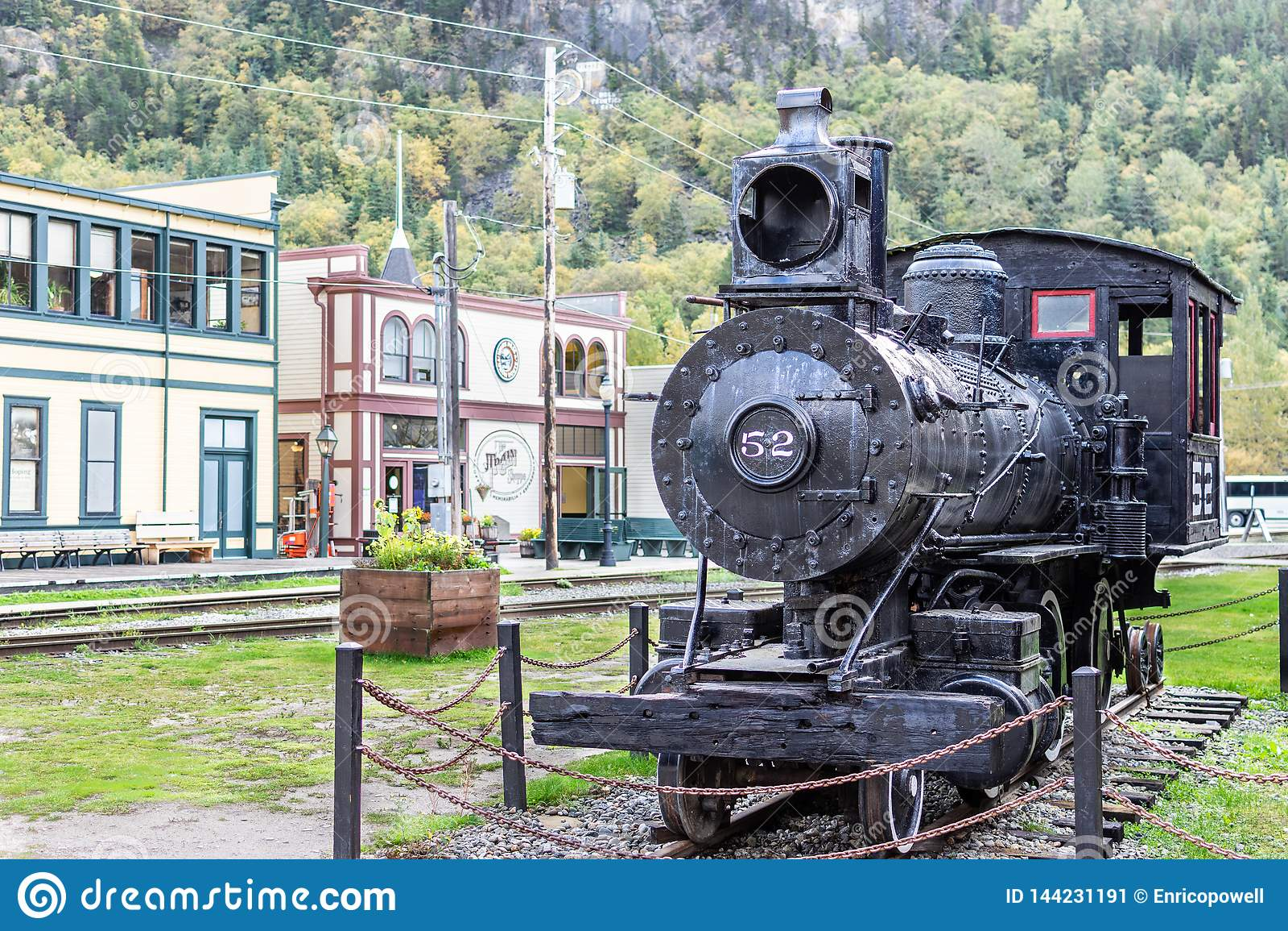 Parowego Engine/lokomotywa 52 w Skagway Alaska
