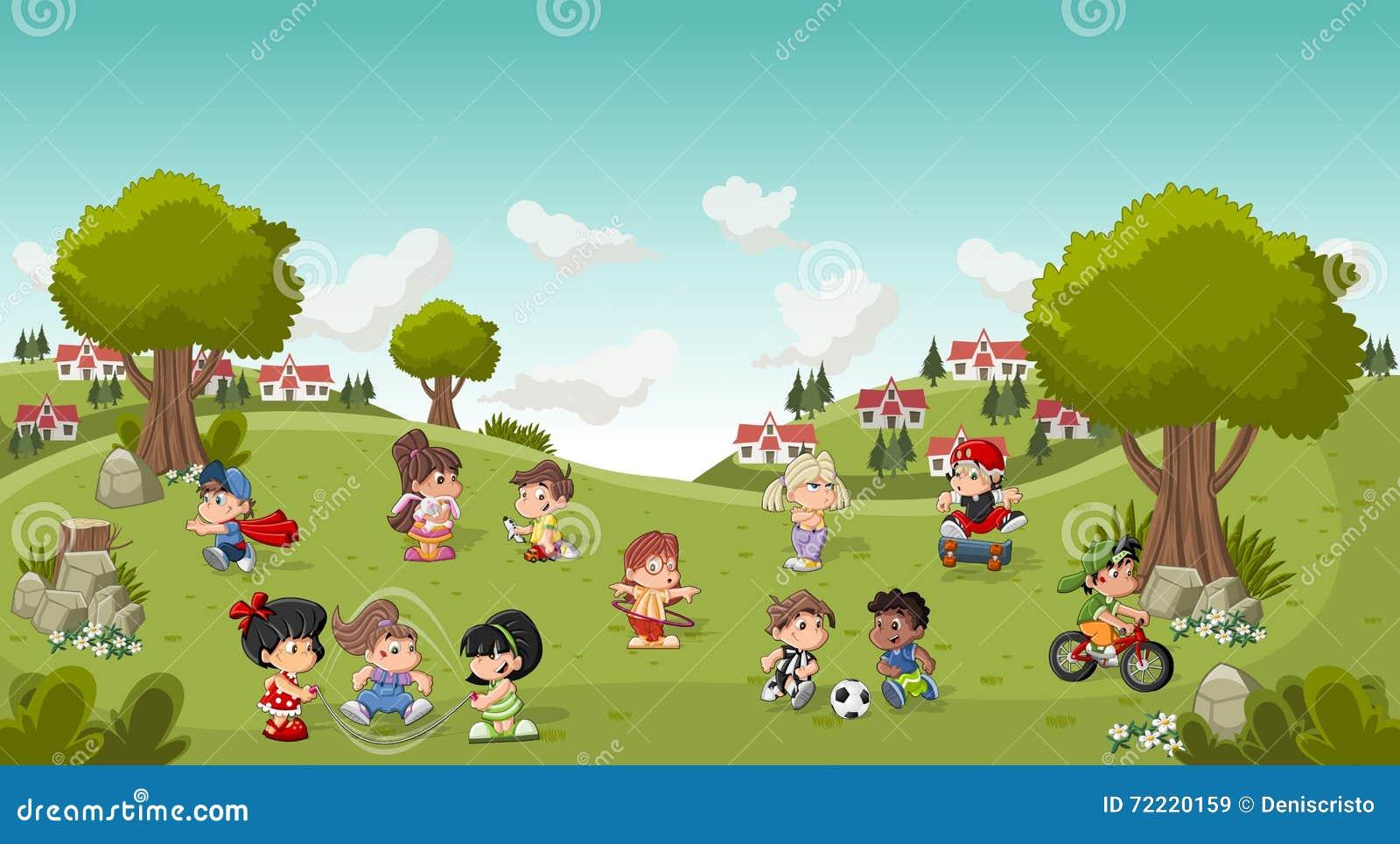 Parque colorido en la ciudad con jugar de los niños de la historieta