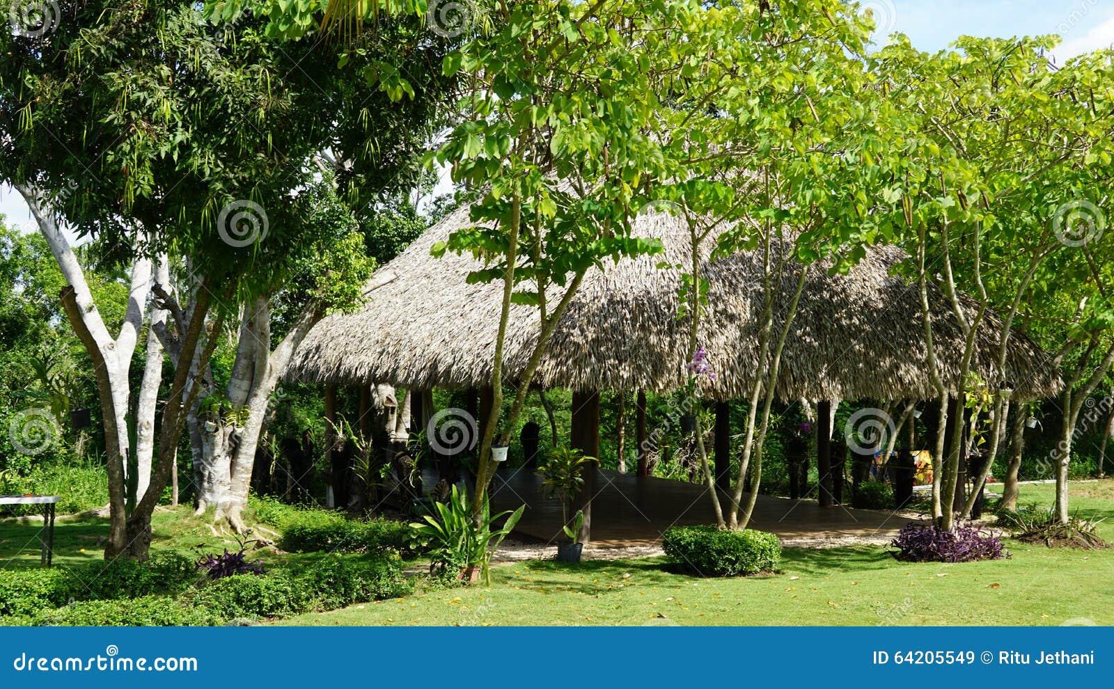 Parque con un refugio cubierto con paja