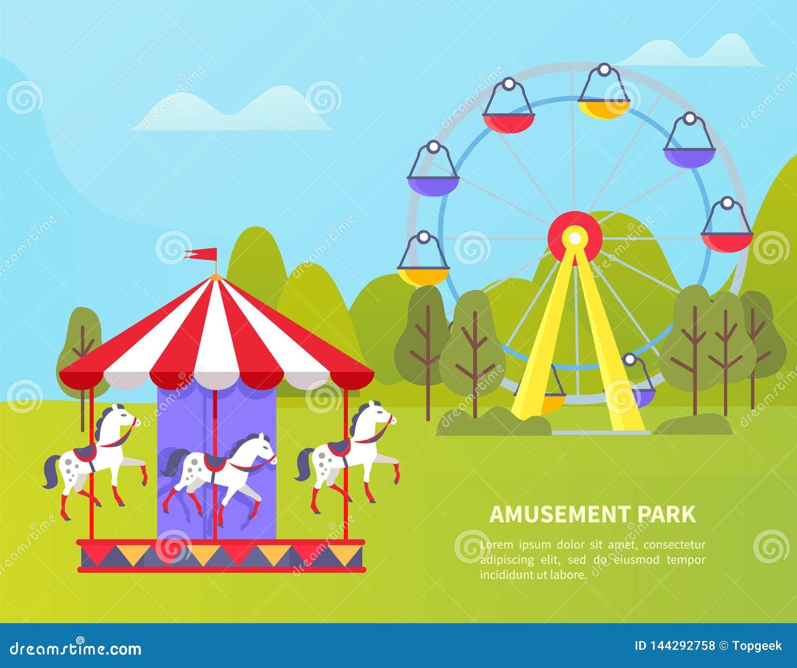 Parque de atracciones con Ferris Wheel y el carrusel