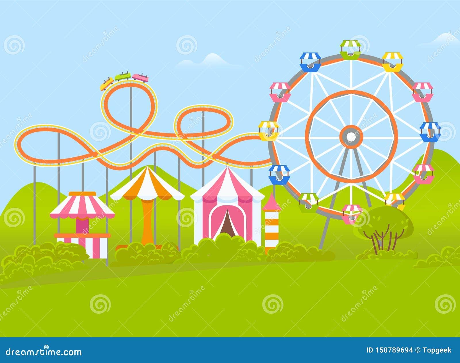 Parque de atracciones con Ferris Wheel y la atracción