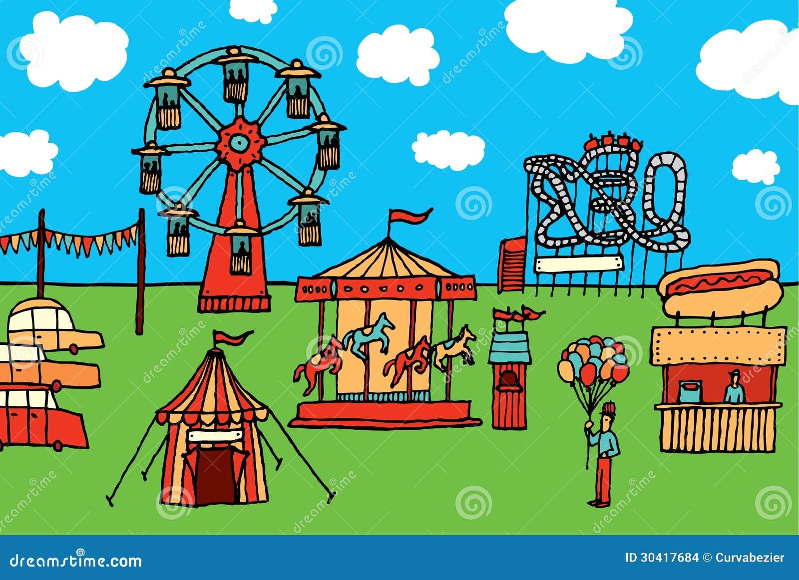 Laminas De Atracciones De Feria Para Pintar: Parque De Atracciones Del Carnaval/de La Historieta