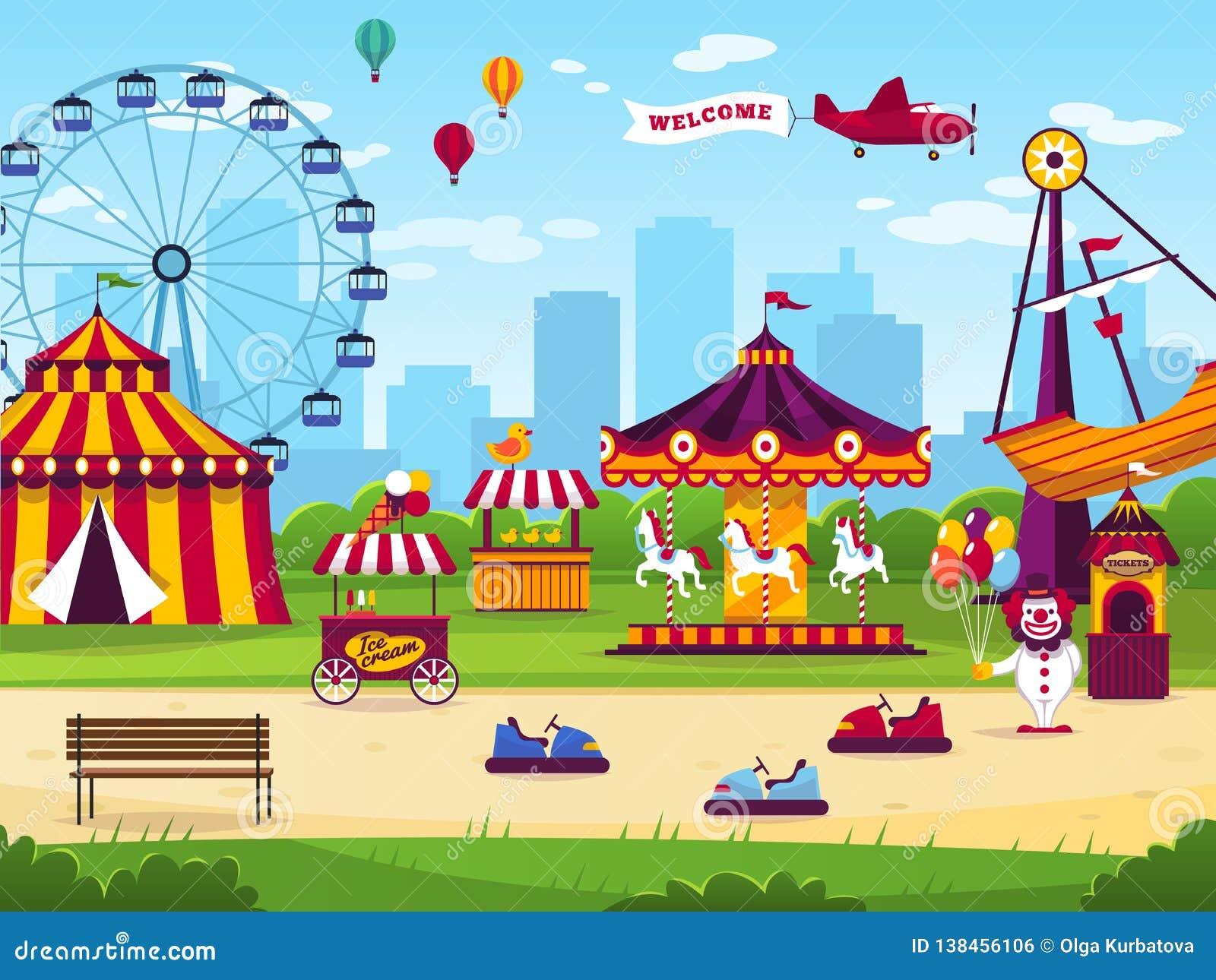 Parque de atracciones El entretenimiento de las atracciones alegre divierte el fondo del paisaje del funfair del juego del carrus