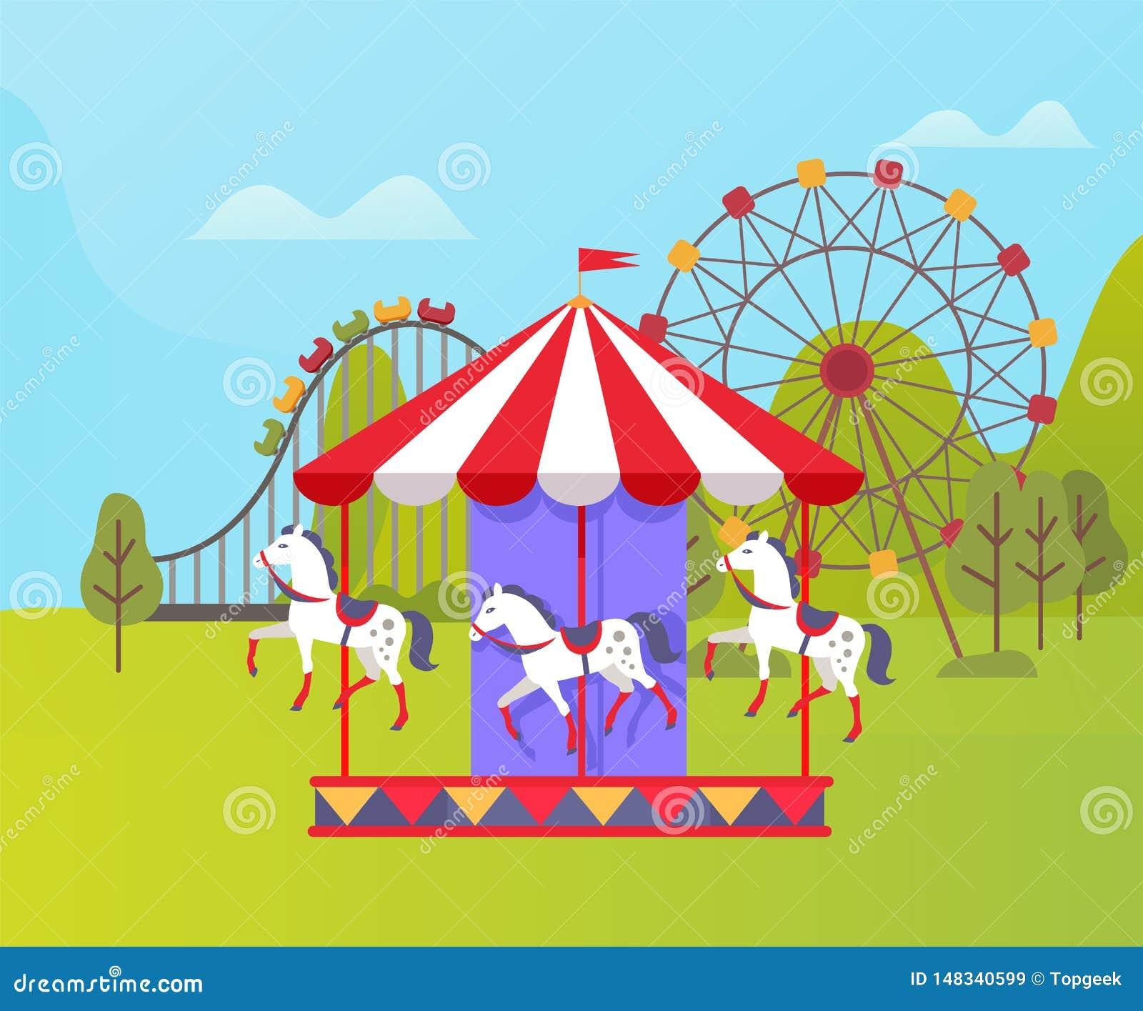 Parque de atracciones, Ferris Wheel y naturaleza del carrusel