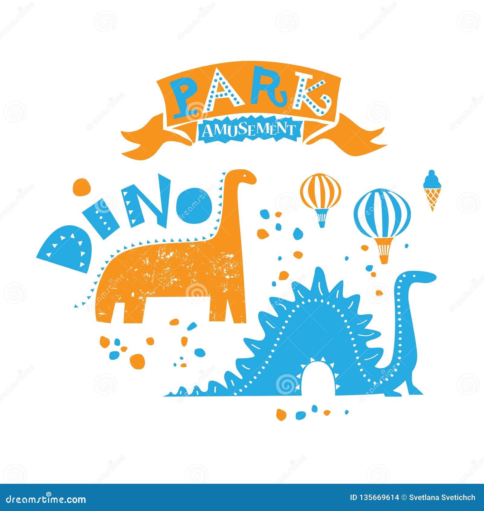 Parque de atracciones para la familia entera Ejemplo de dos paseos del dinosaurio