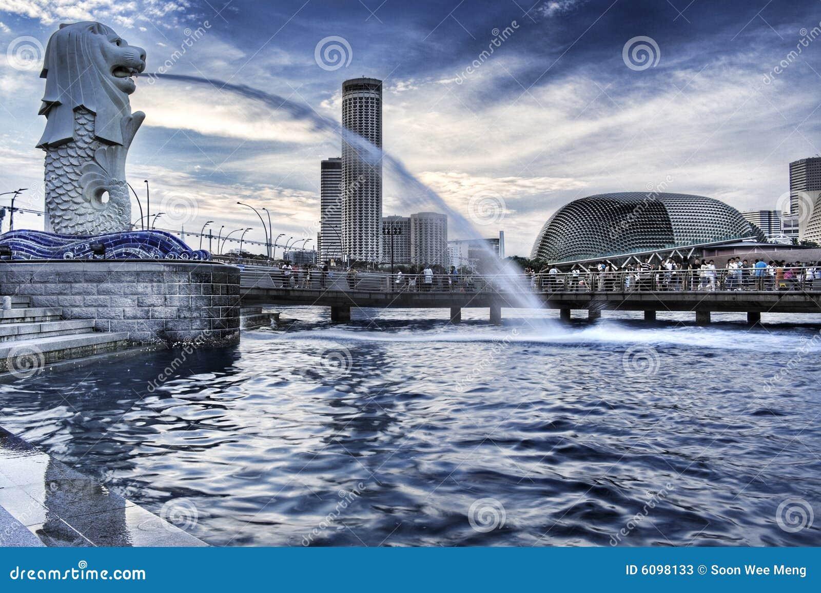 Parque de Singapur Merlion, bahía de desatención del puerto deportivo