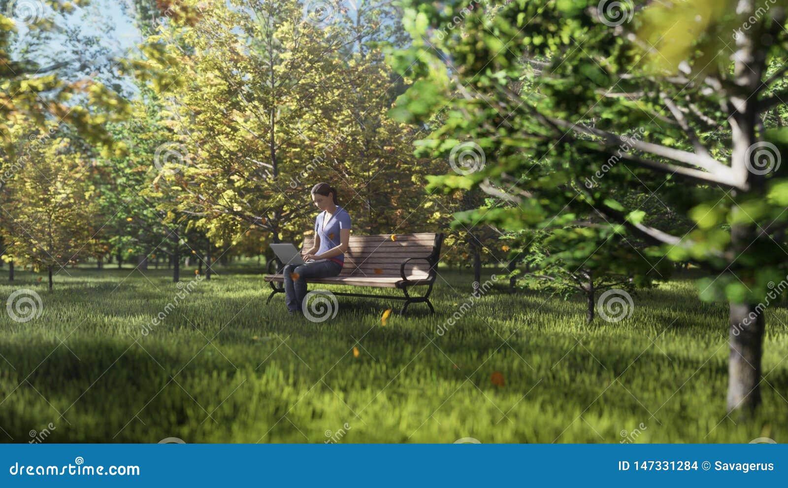 Parque del color del oto?o Vista de los árboles coloridos del otoño en un día soleado del otoño Muchacha que se sienta con un ord