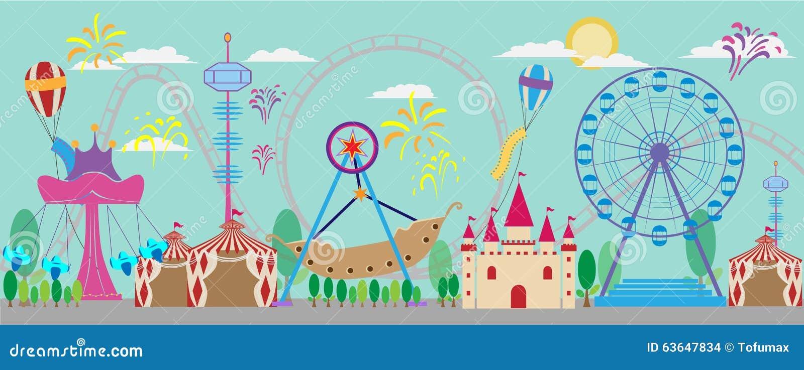 Parque, diversión, vector, carnaval, justo, rodillo, tienda, diversión, circ