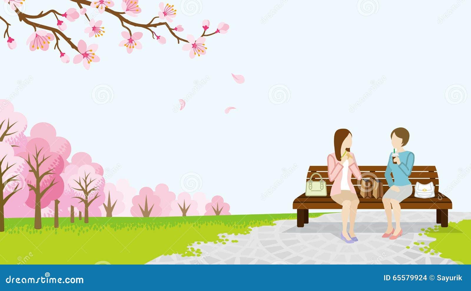 Parque do almoço de duas mulheres na primavera - EPS10