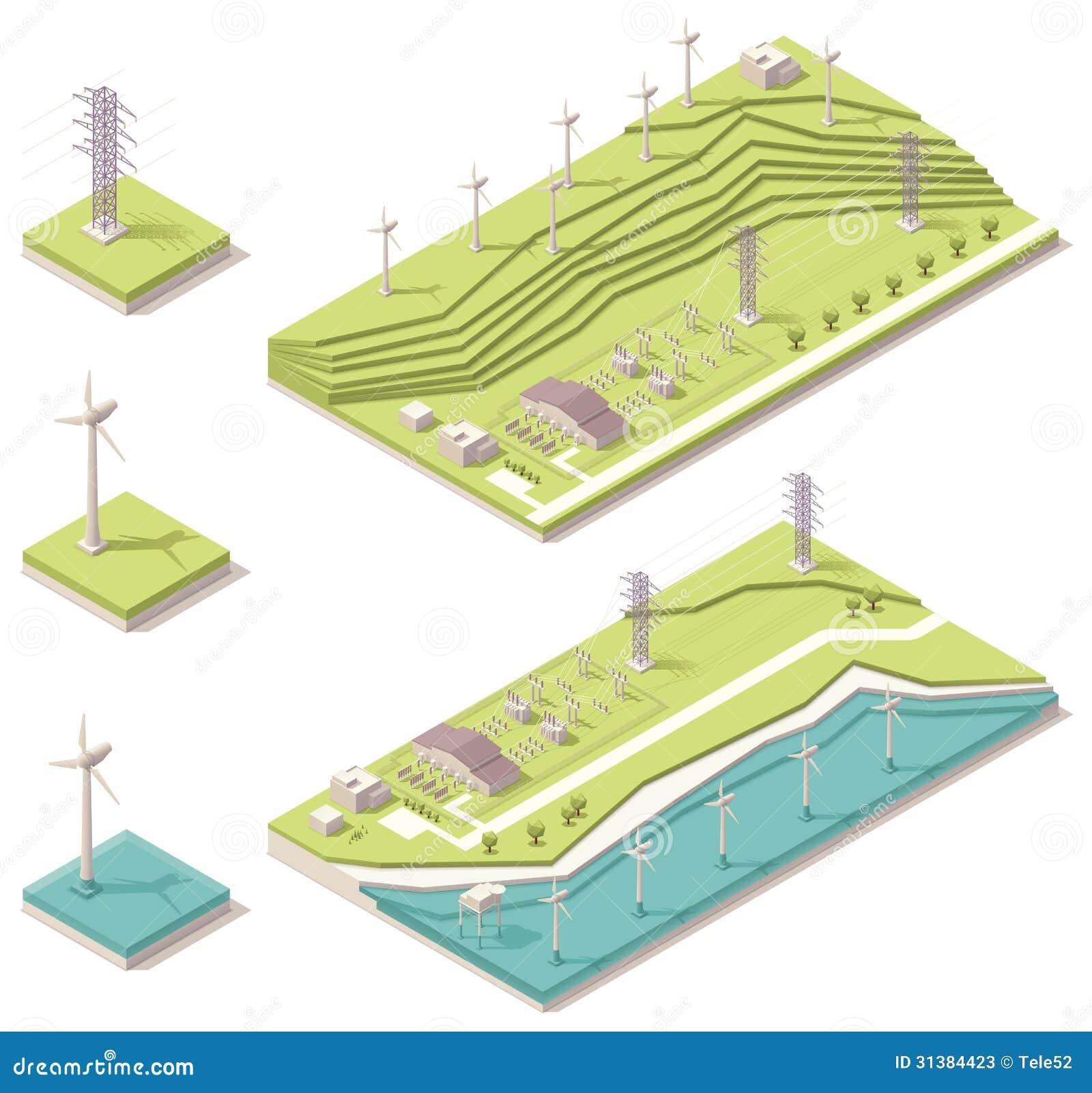 Parque eólico isométrico