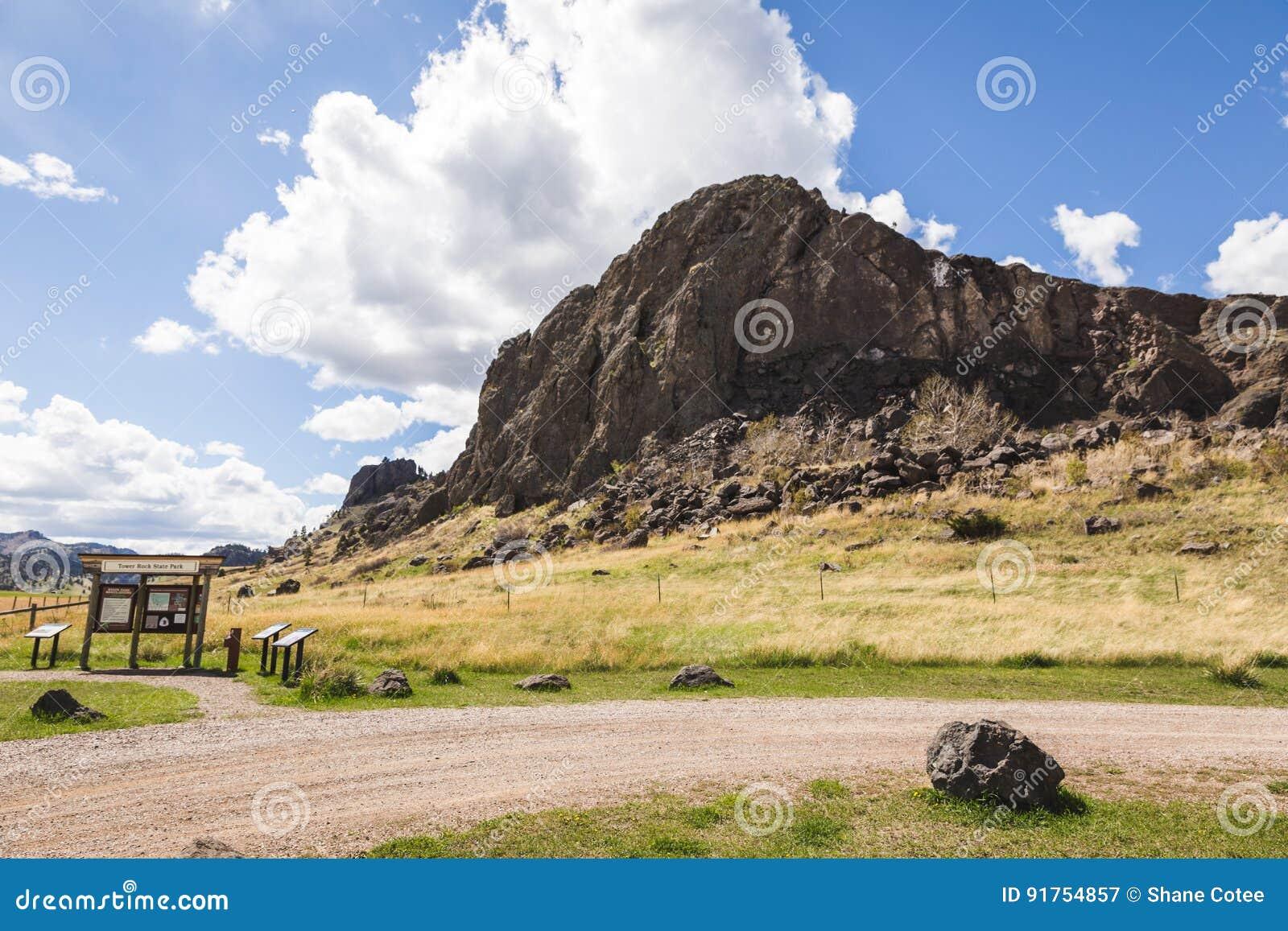 Parque estadual da rocha da torre em Montana