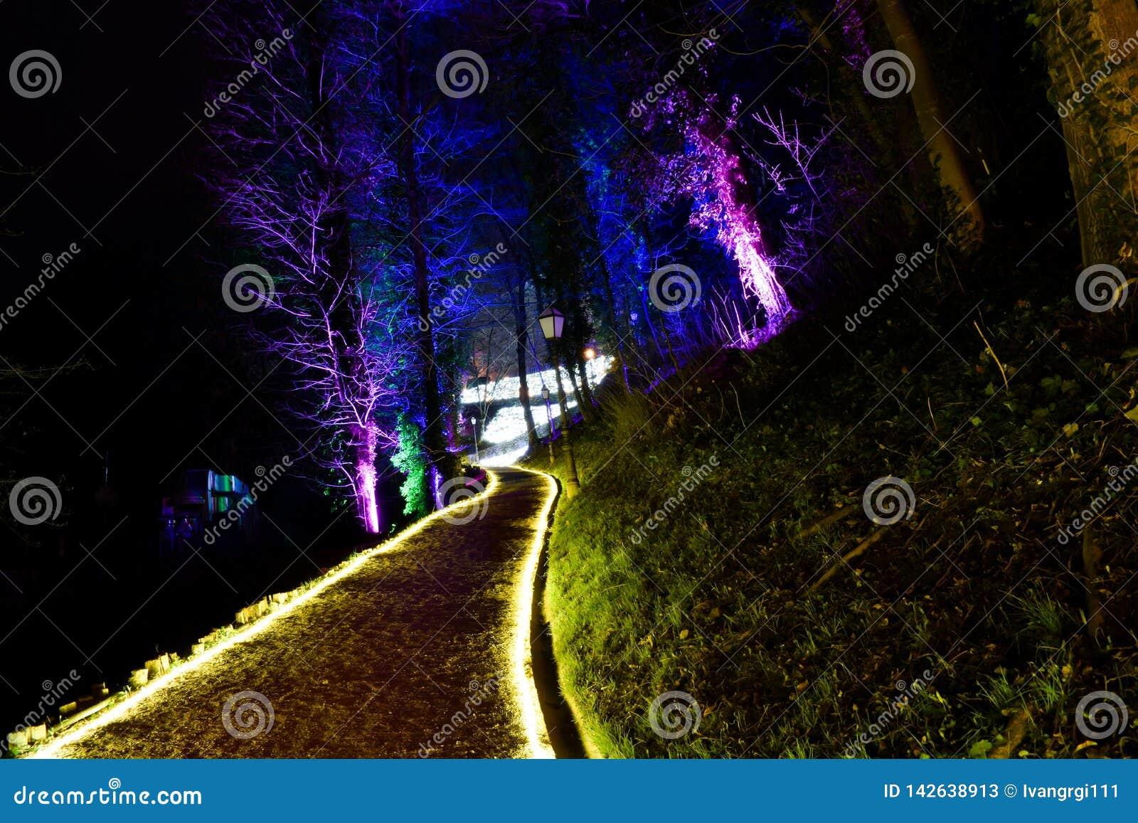 Parque iluminado em Zagreb, Croácia durante o festival de luzes