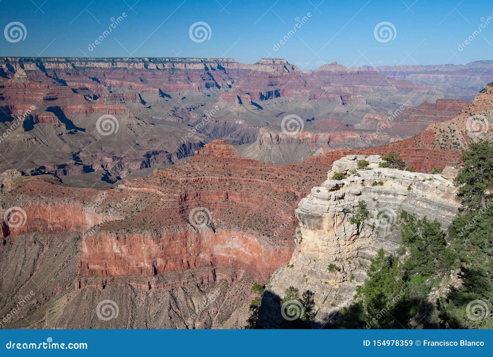 Parque nacional de Grand Canyon, borda sul na tarde do verão