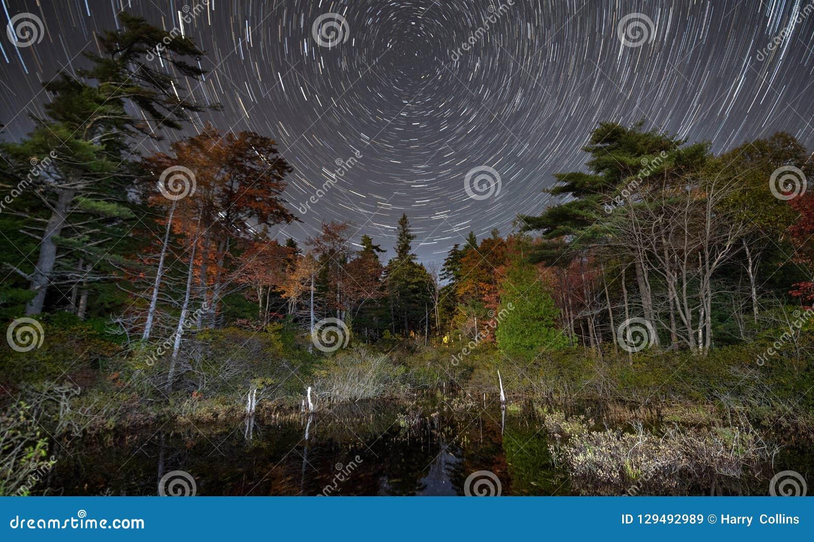 Parque nacional do Acadia da fuga da estrela no outono