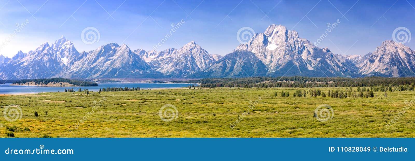 Parque nacional grande de Teton, panorama da cordilheira, Wyoming EUA
