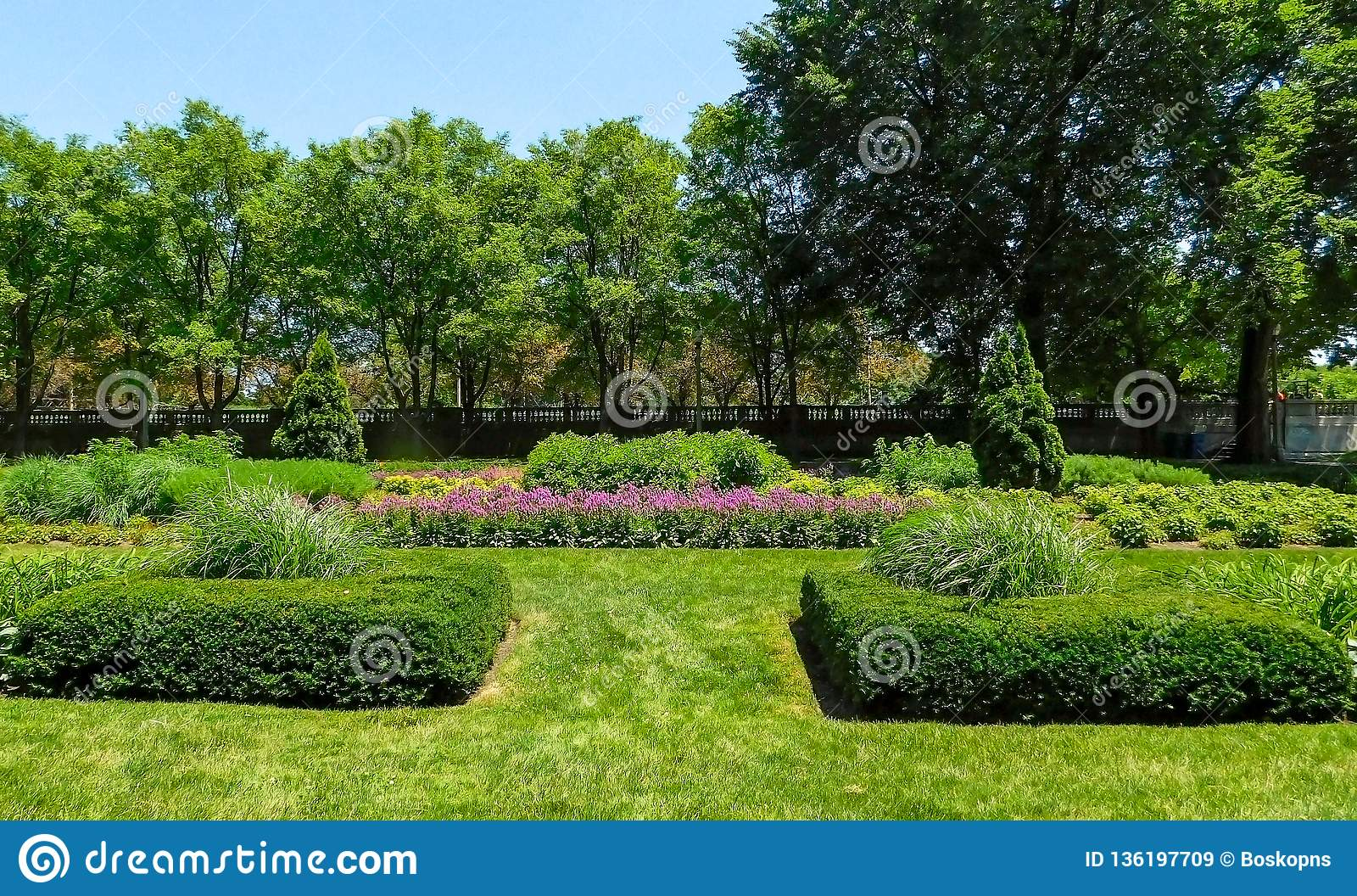 Parque público en la primavera