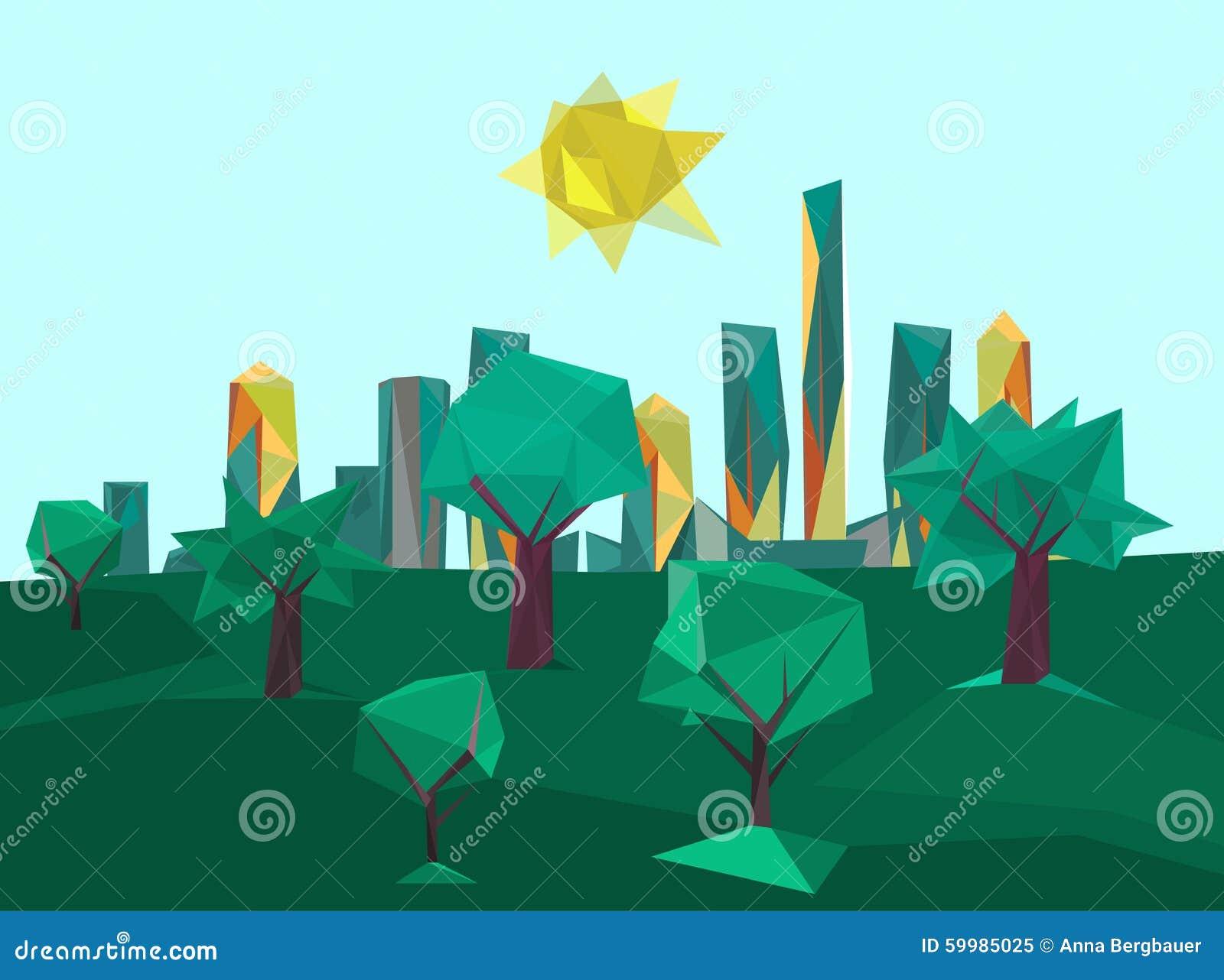Parque Poligonal Del Paisaje Urbano Ilustración del Vector ...