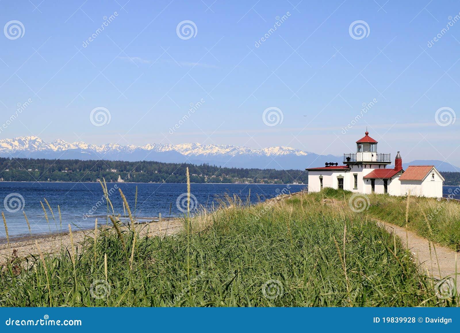 Parque Seattle da descoberta do farol de West Point